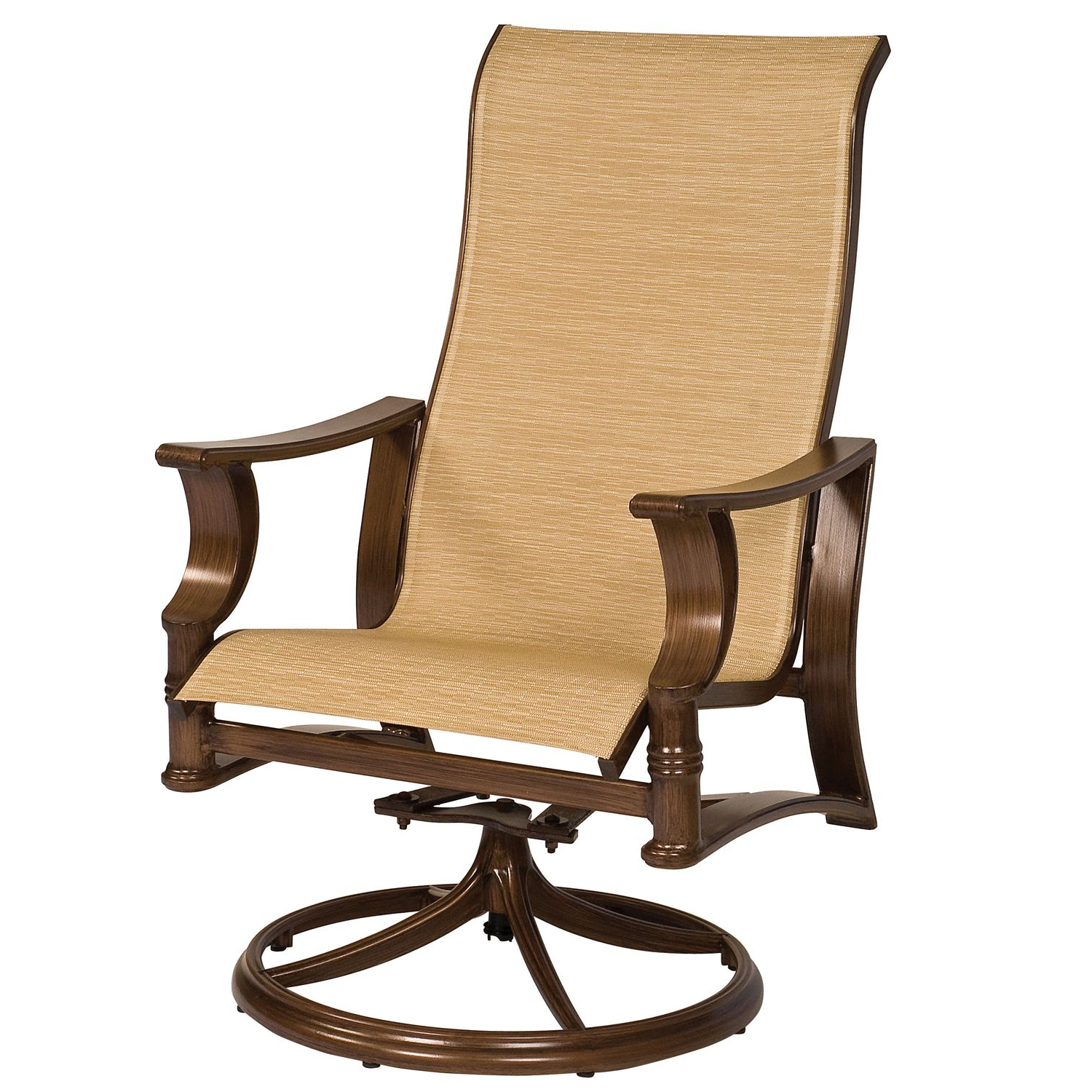 Arkadia Padded Sling High Back Swivel Rocking Dining Armchair For Most Recently Released Padded Sling High Back Swivel Chairs (View 10 of 30)