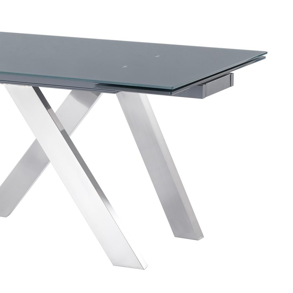 Armen Living Imara Brushed Stainless Steel And Grey Tempered For Fashionable Dining Tables With Brushed Stainless Steel Frame (View 27 of 30)