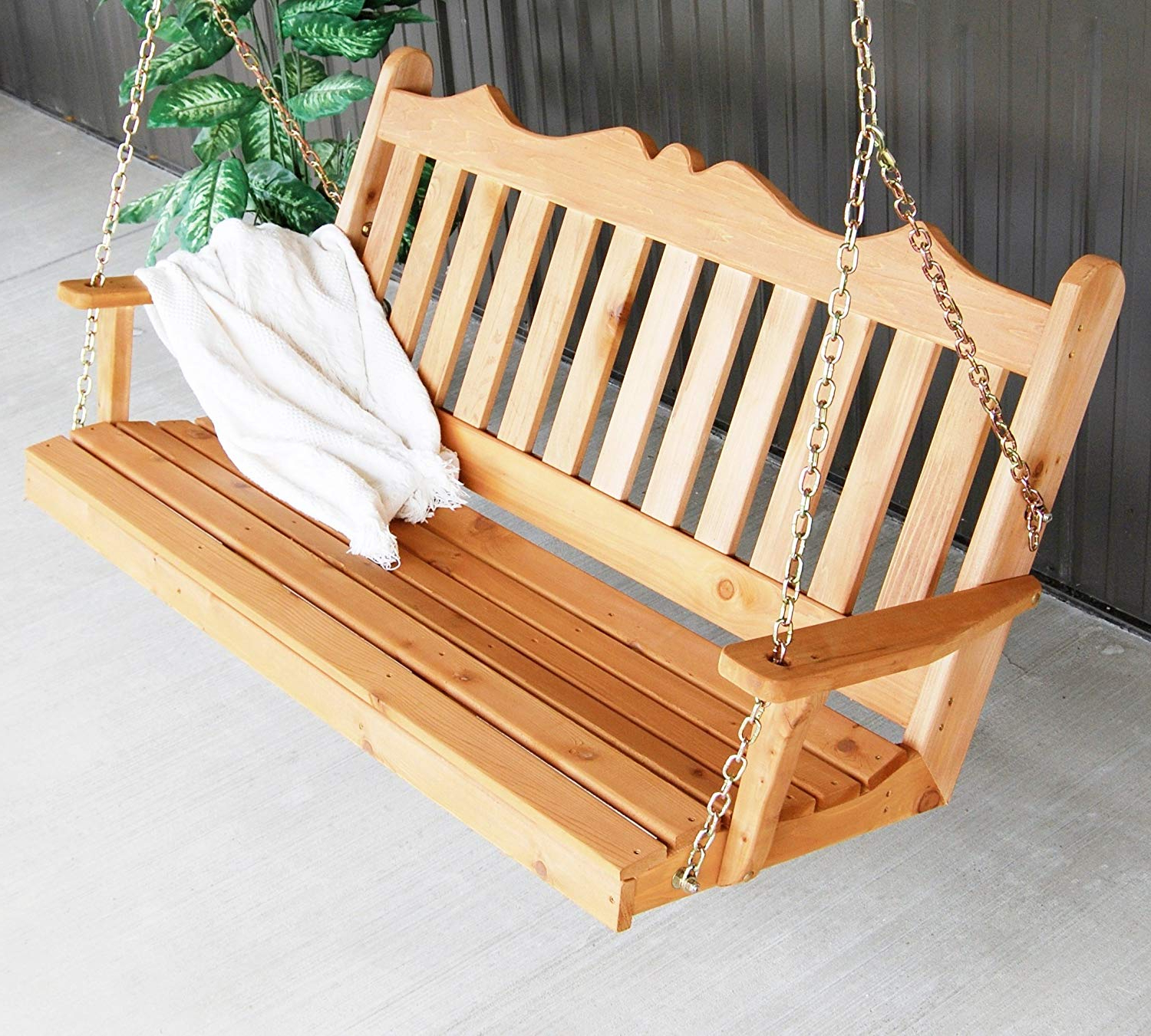 Aspen Tree Interiors Cedar Porch Swing, Amish Outdoor Hanging Porch Swings, Patio Wooden 2 Person Seat Swinging Bench, Weather Resistant Western Red Within Latest Patio Hanging Porch Swings (View 30 of 30)