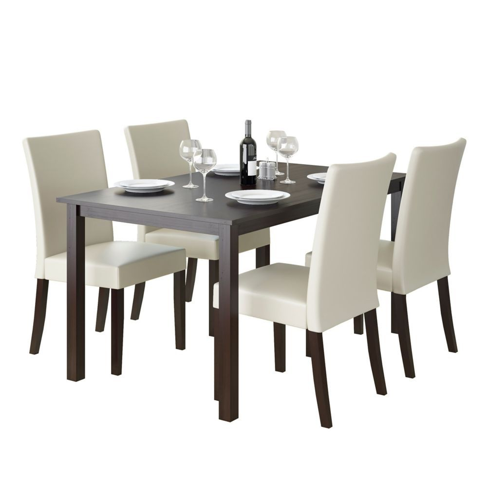 Atwood Transitional Rectangular Dining Tables For Most Recent Atwood 55 Inch Dining Table In Cappuccino With 4 Cream (View 7 of 30)