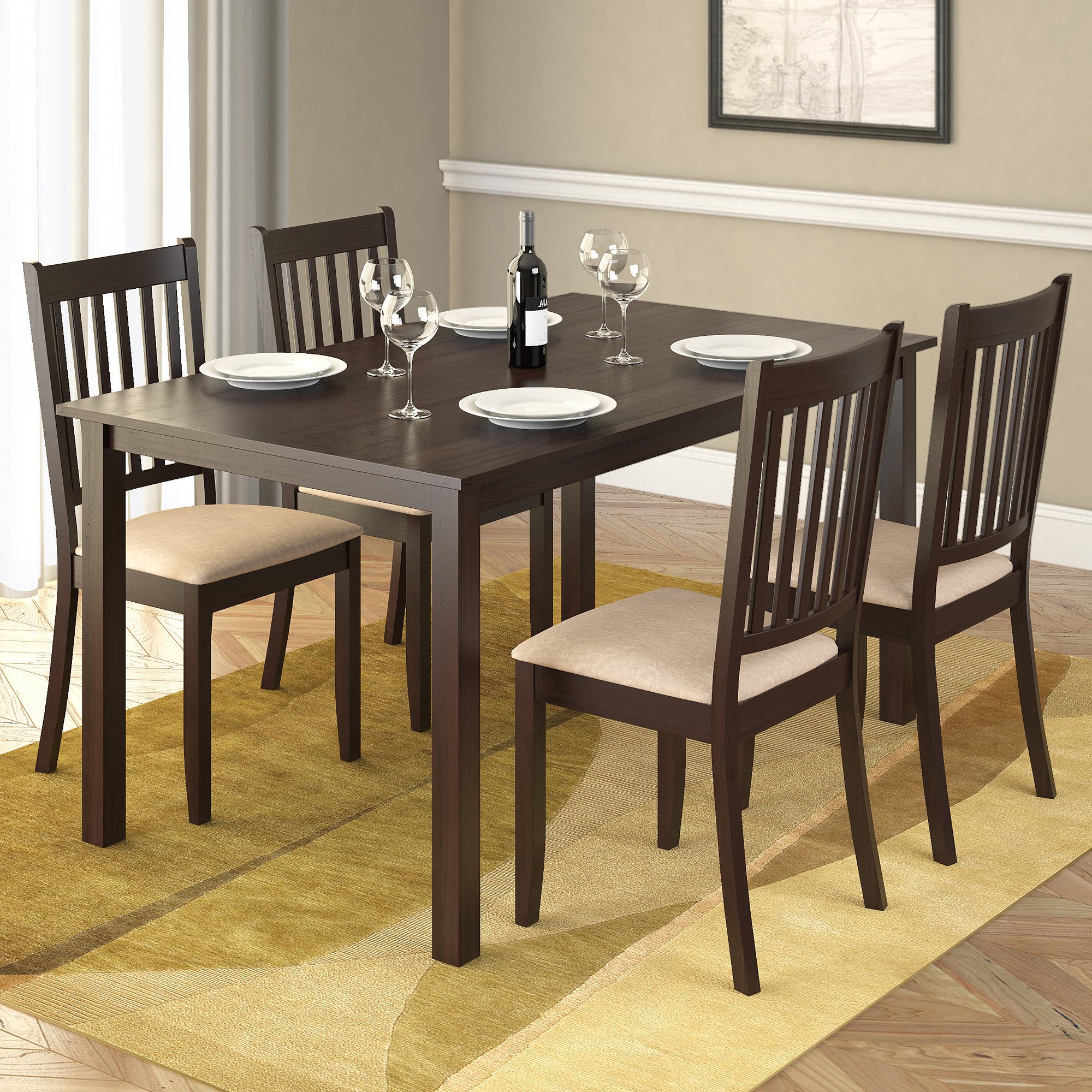 """Atwood Transitional Rectangular Dining Tables In 2017 Corliving Atwood 55"""" Dining Table, Cappuccino – Walmart (View 6 of 30)"""