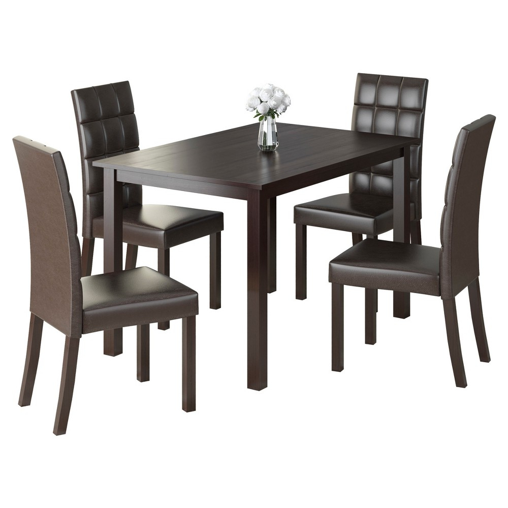 Atwood Transitional Rectangular Dining Tables In Most Recently Released Atwood 5 Piece Dining Set – Dark Brown – Corliving In  (View 7 of 30)