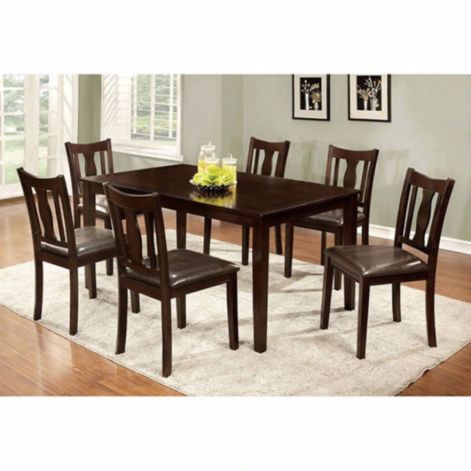 Atwood Transitional Rectangular Dining Tables Throughout Well Liked Benzara 7 Piece Rectangular Faux Leather Dining Table Set In (View 9 of 30)