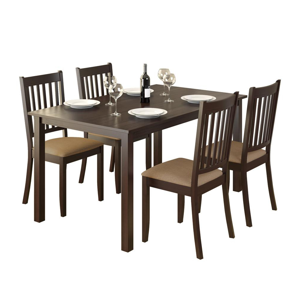 Atwood Transitional Rectangular Dining Tables With Most Up To Date Corliving Atwood 5 Piece Dining Set With Beige Microfiber (View 11 of 30)