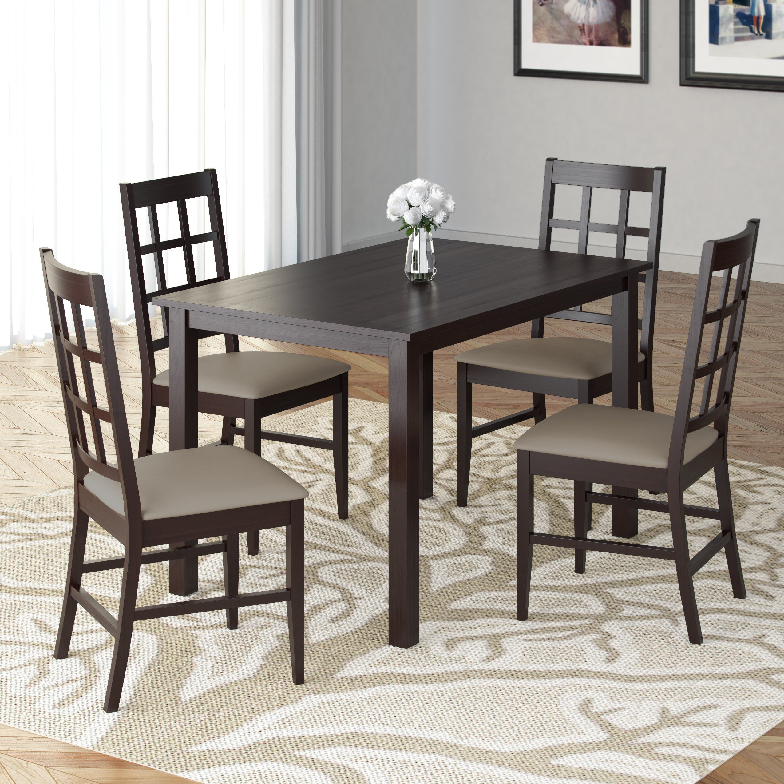 Atwood Transitional Square Dining Tables Inside Most Up To Date Atwood 5pc Dining Set With Taupe Stone Leatherette Seats (View 5 of 30)