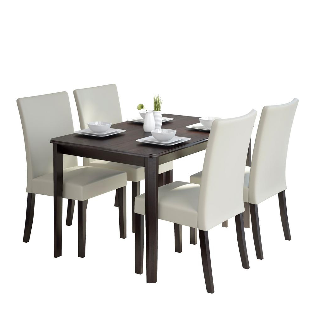 Atwood Transitional Square Dining Tables Regarding Well Known Corliving Atwood 5 Piece Dining Set With Cream Leatherette (View 17 of 30)