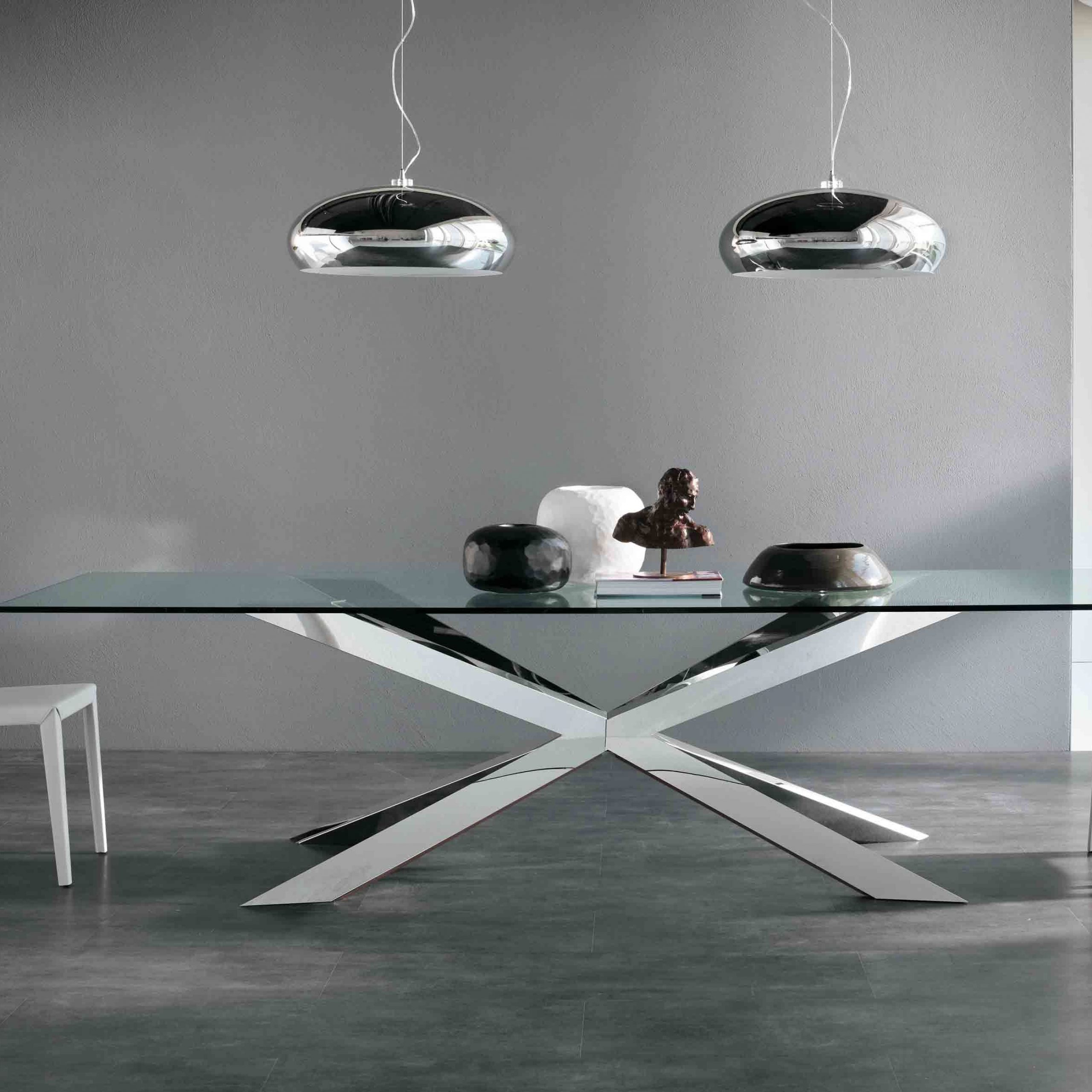 Awesome Glass Top Dining Table Decor With X Chrome Metal Throughout Most Recently Released Long Dining Tables With Polished Black Stainless Steel Base (View 4 of 30)