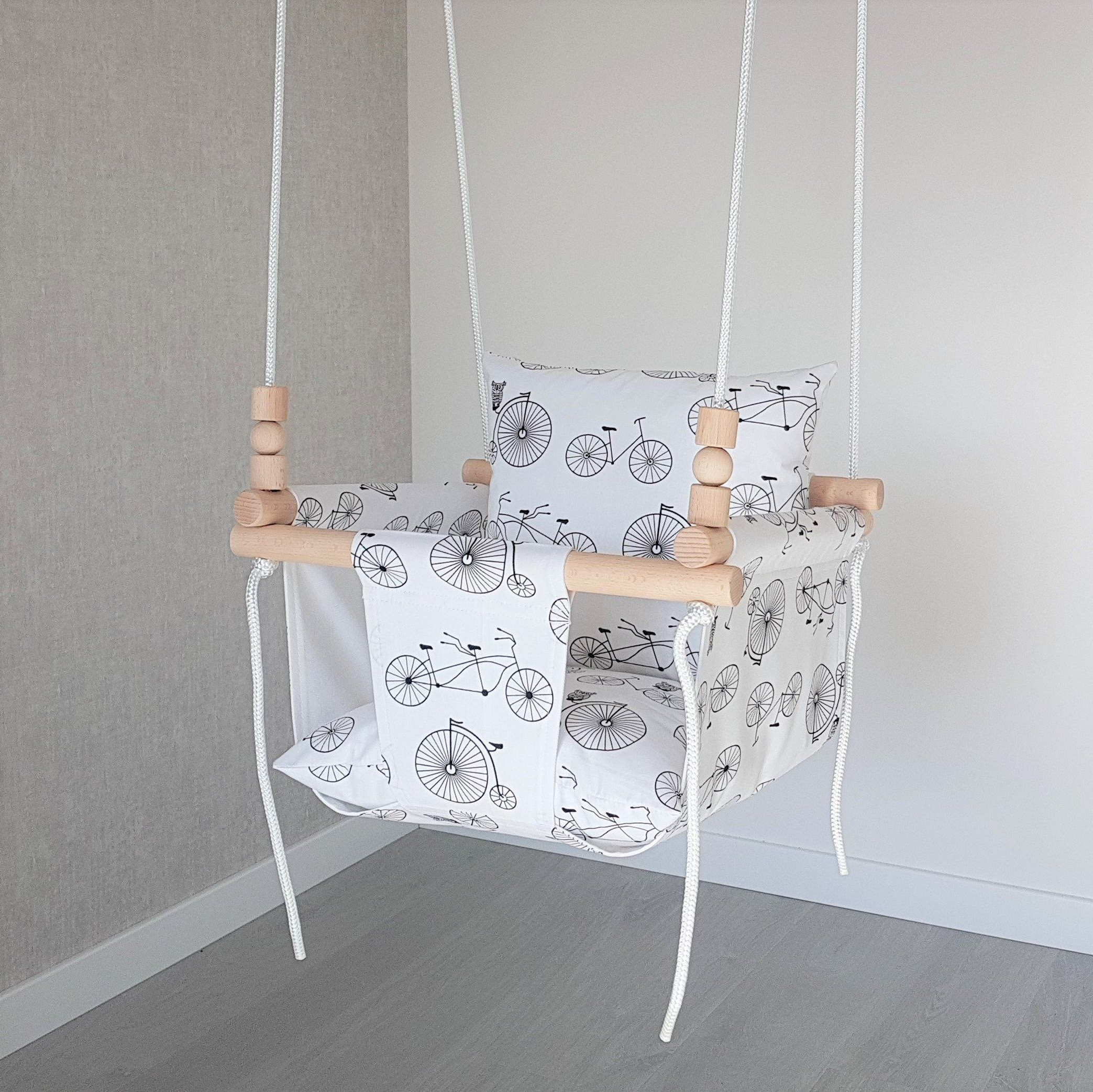 Baby Swing***ships Fast***wooden Swing/ Porch Swing/ Nursery Throughout Preferred Cotton Porch Swings (Gallery 24 of 30)
