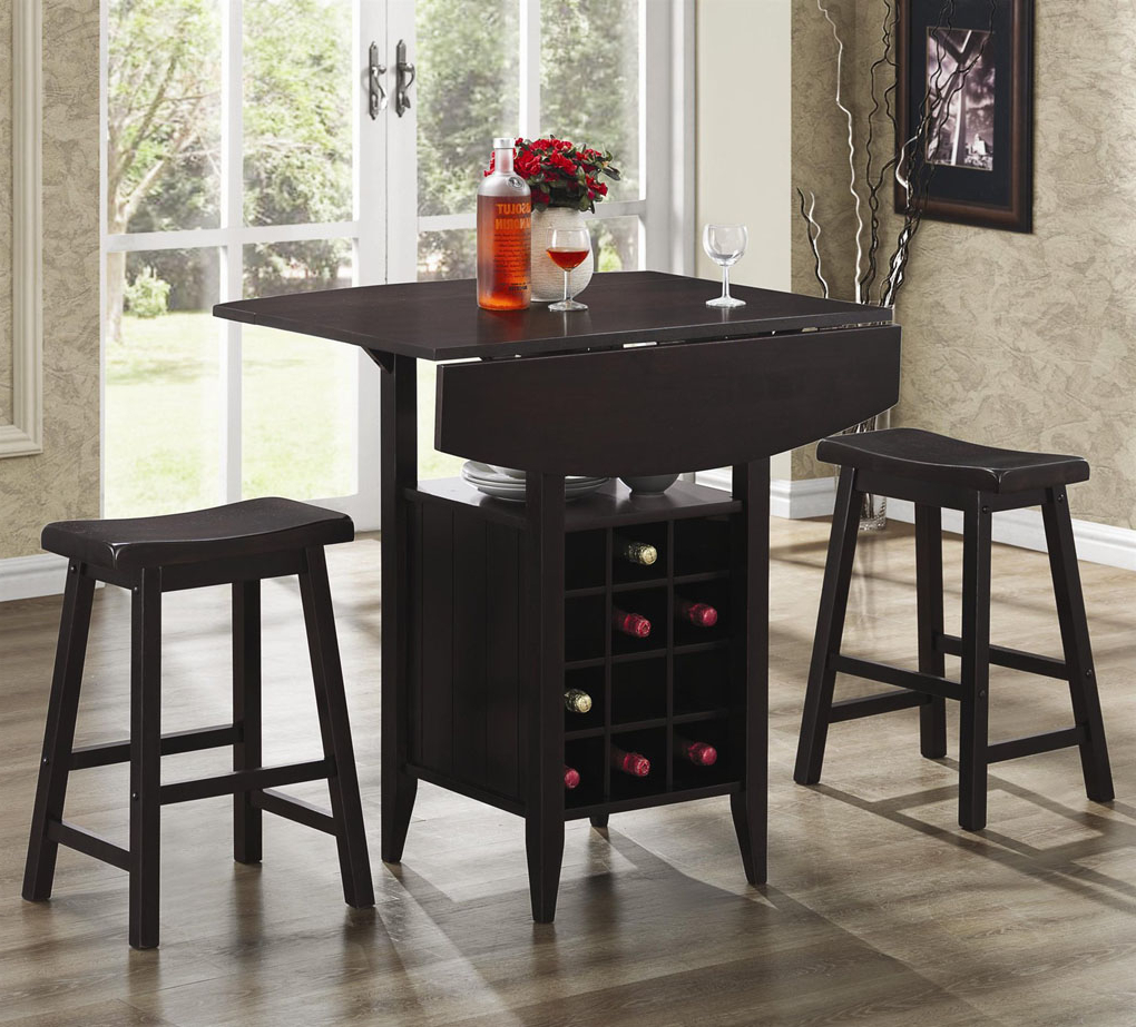 Bar Units And Bar Tables 3 Piece Drop Leaf Bar Table And Intended For Trendy Transitional 3 Piece Drop Leaf Casual Dining Tables Set (View 4 of 30)