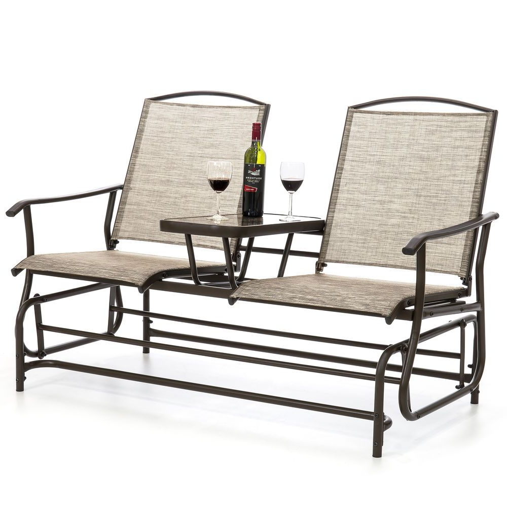 Bcp 2 Person Mesh Double Glider W/ Tempered Glass Attached With Regard To Best And Newest 2 Person Antique Black Iron Outdoor Gliders (View 15 of 30)