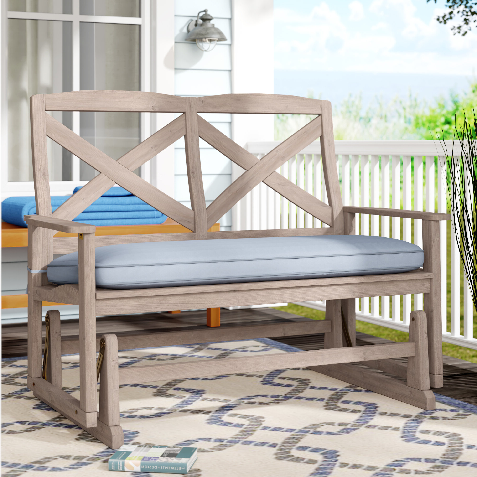 Beachcrest Home Englewood Glider Bench With Cushion Regarding Famous 2 Person Natural Cedar Wood Outdoor Gliders (View 27 of 30)