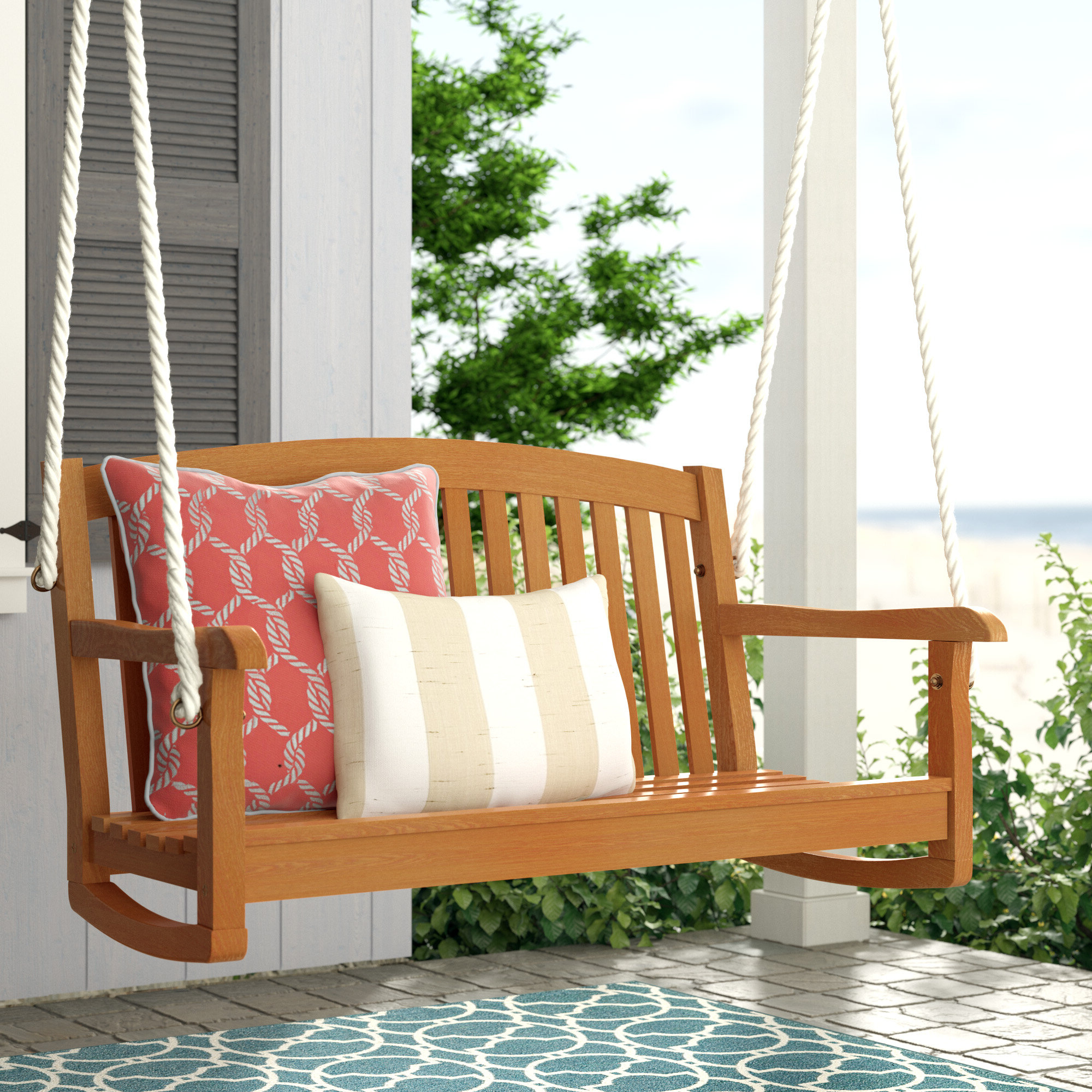 Beachcrest Home Portland Teak Porch Swing Inside Most Recently Released Fordyce Porch Swings (Gallery 22 of 30)