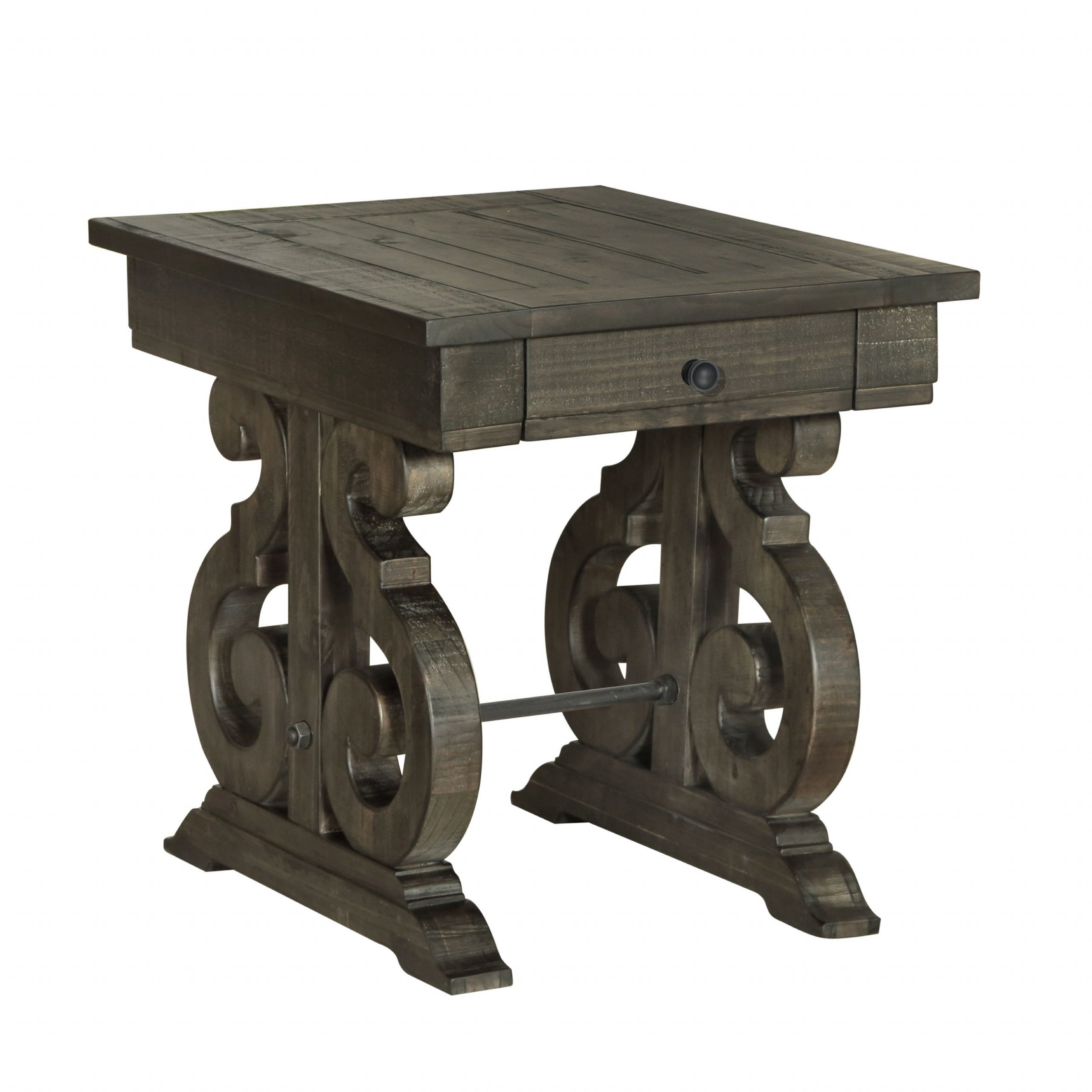 Bellamy Traditional Weathered Peppercorn Storage End Table Throughout Most Recent Charcoal Transitional 6 Seating Rectangular Dining Tables (View 13 of 30)