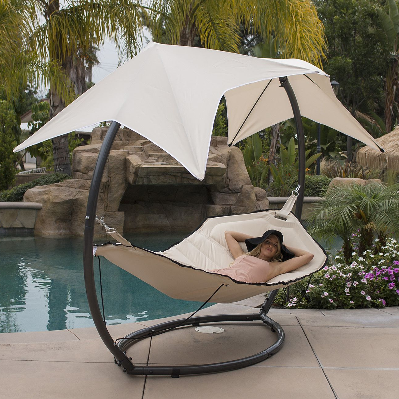 Belleze Belleze Patio Hammock W/ Sunroof Canopy Outdoor Throughout Well Known Garden Leisure Outdoor Hammock Patio Canopy Rocking Chairs (View 5 of 30)