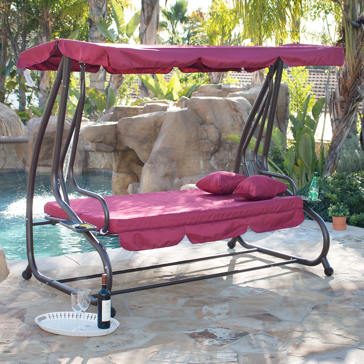 Belleze Outdoor Canopy Porch Swing/bed Hammock Tilt Canopy With Steel Frame  (Burgundy) Intended For Fashionable Porch Swings With Canopy (Gallery 7 of 30)