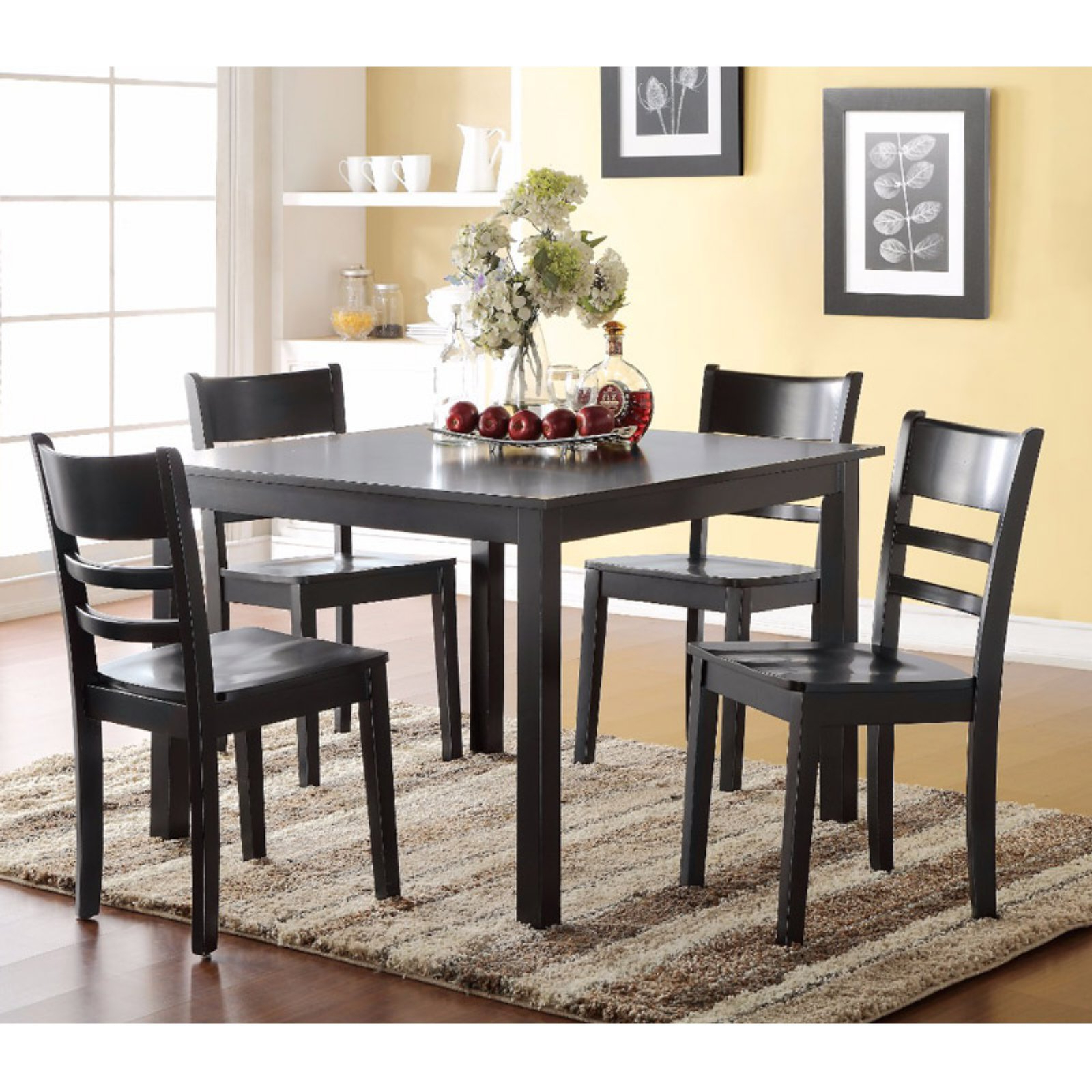 Benzara Gracious 5 Piece Square Dining Table Set In 2019 In Popular Transitional 4 Seating Double Drop Leaf Casual Dining Tables (View 7 of 30)