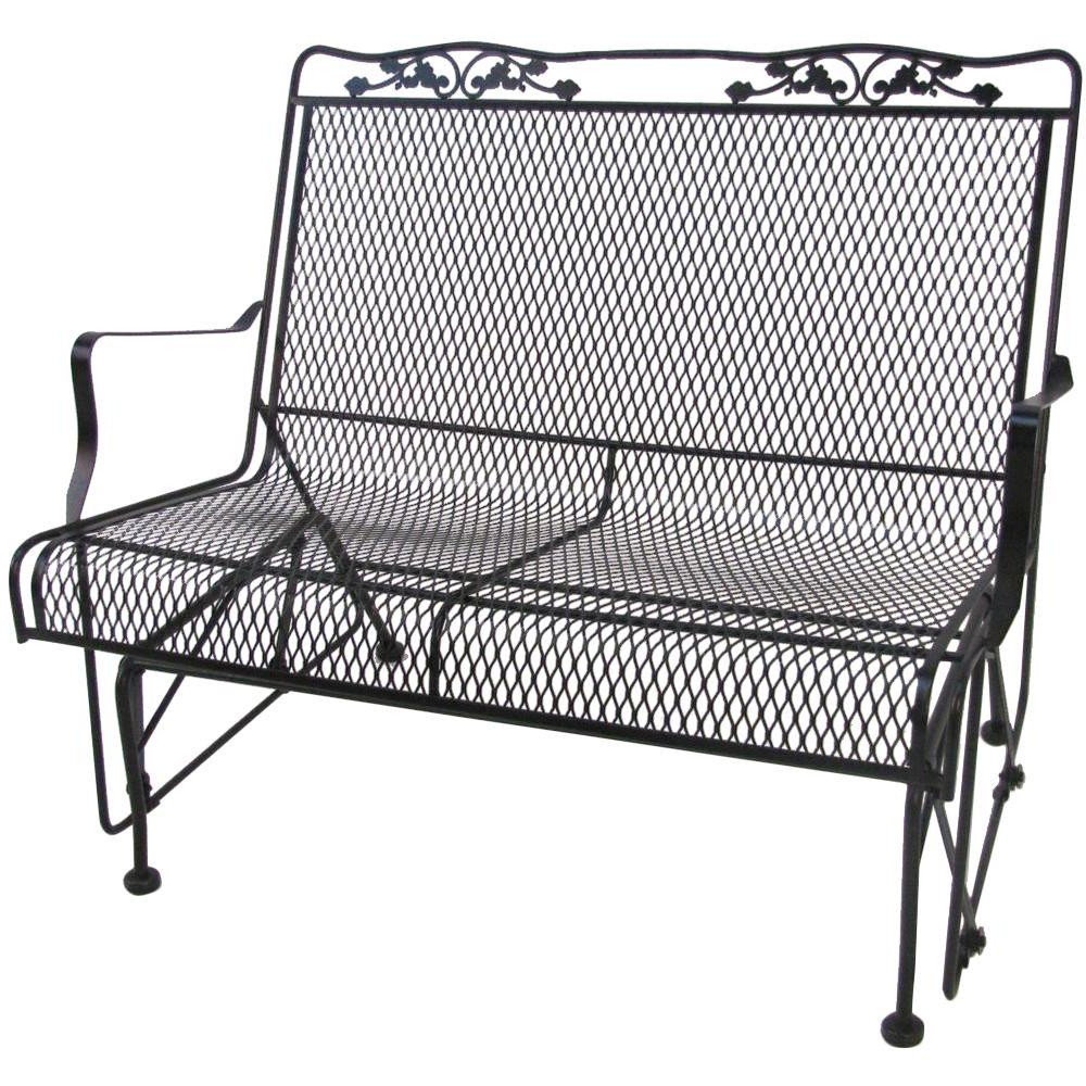 Best And Newest 2 Person Antique Black Iron Outdoor Gliders Intended For Arlington House Glenbrook Black Patio Glider (View 12 of 30)