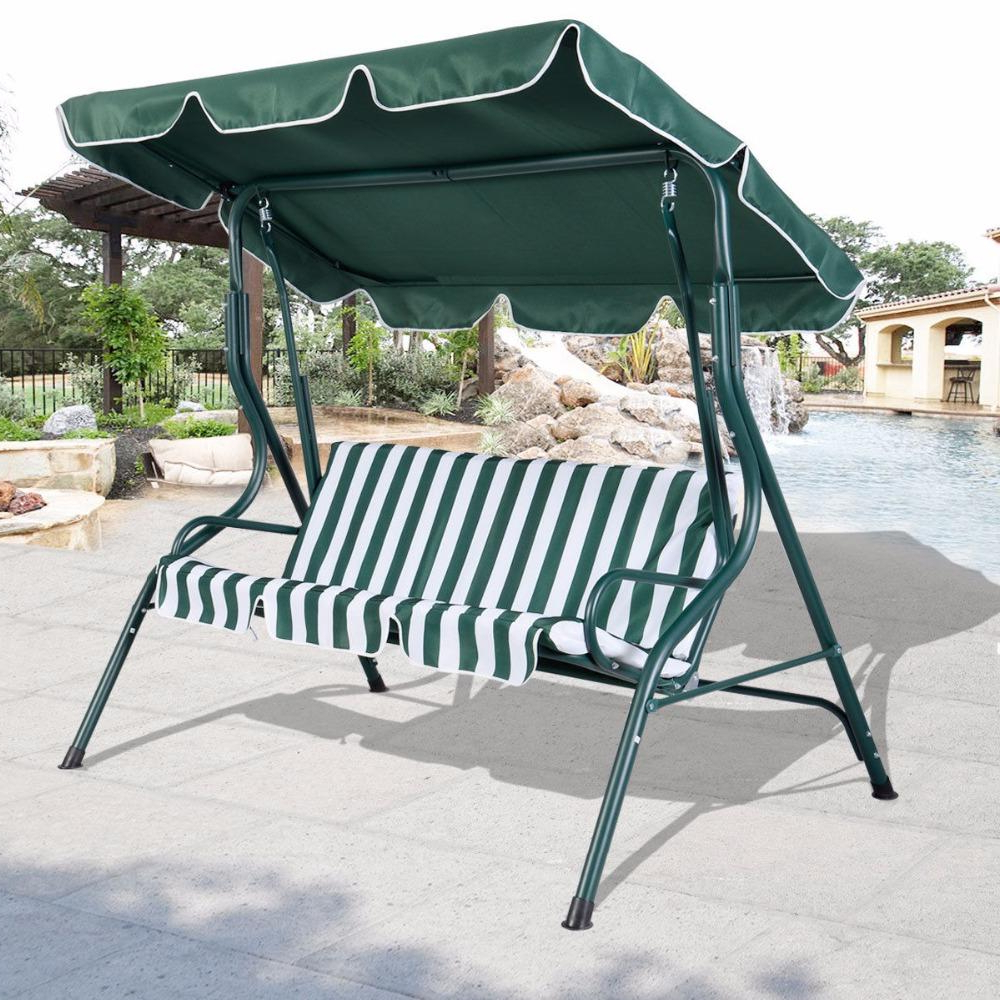 Best And Newest 3 Person Patio Swing Outdoor Canopy Awning Yard Furniture Hammock Steel Green Op2573*fds Pertaining To Garden Leisure Outdoor Hammock Patio Canopy Rocking Chairs (View 10 of 30)