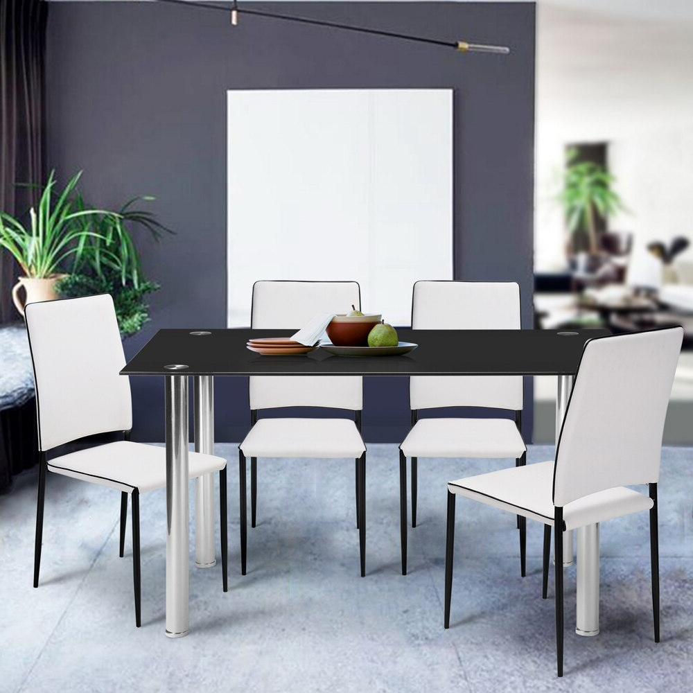 Best And Newest Aingoo Rectangle Tempered Glass Dinner Table Glass Top Within Steel And Glass Rectangle Dining Tables (View 16 of 30)