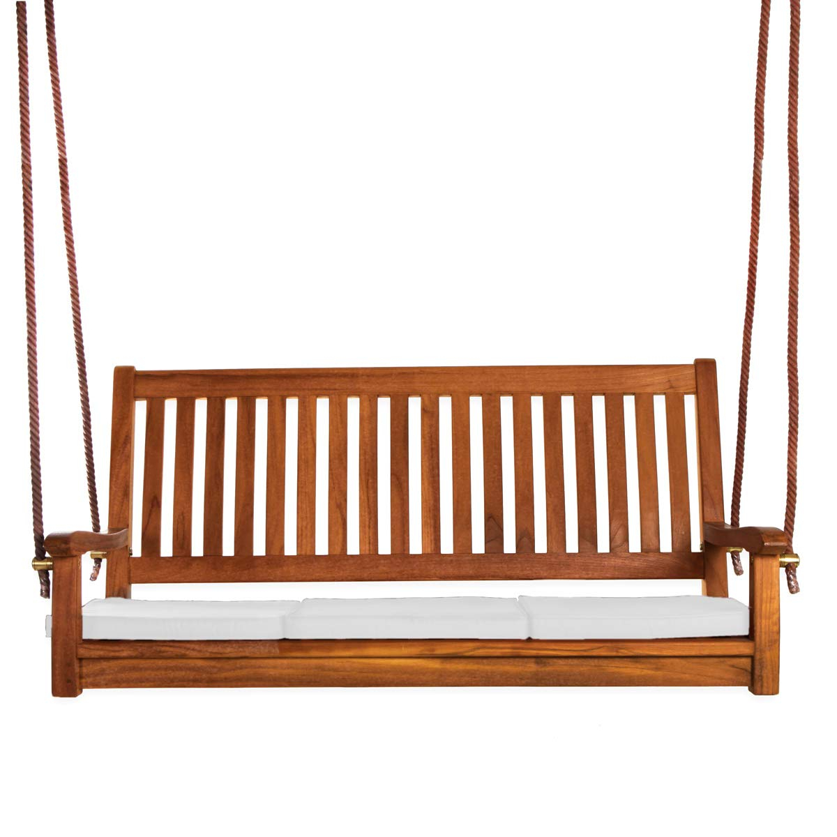 Best And Newest All Things Cedar Ts50 W Teak Porch Swing With Cushions, White For Teak Porch Swings (View 7 of 30)