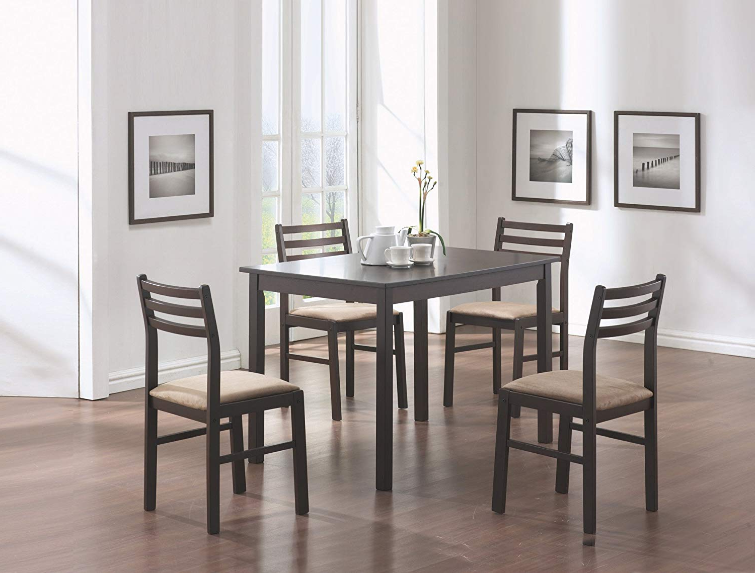 Best And Newest Amazon – 5 Pieces Cappuccino Wood Veneer Dining Set Pertaining To Cappuccino Finish Wood Classic Casual Dining Tables (View 4 of 30)