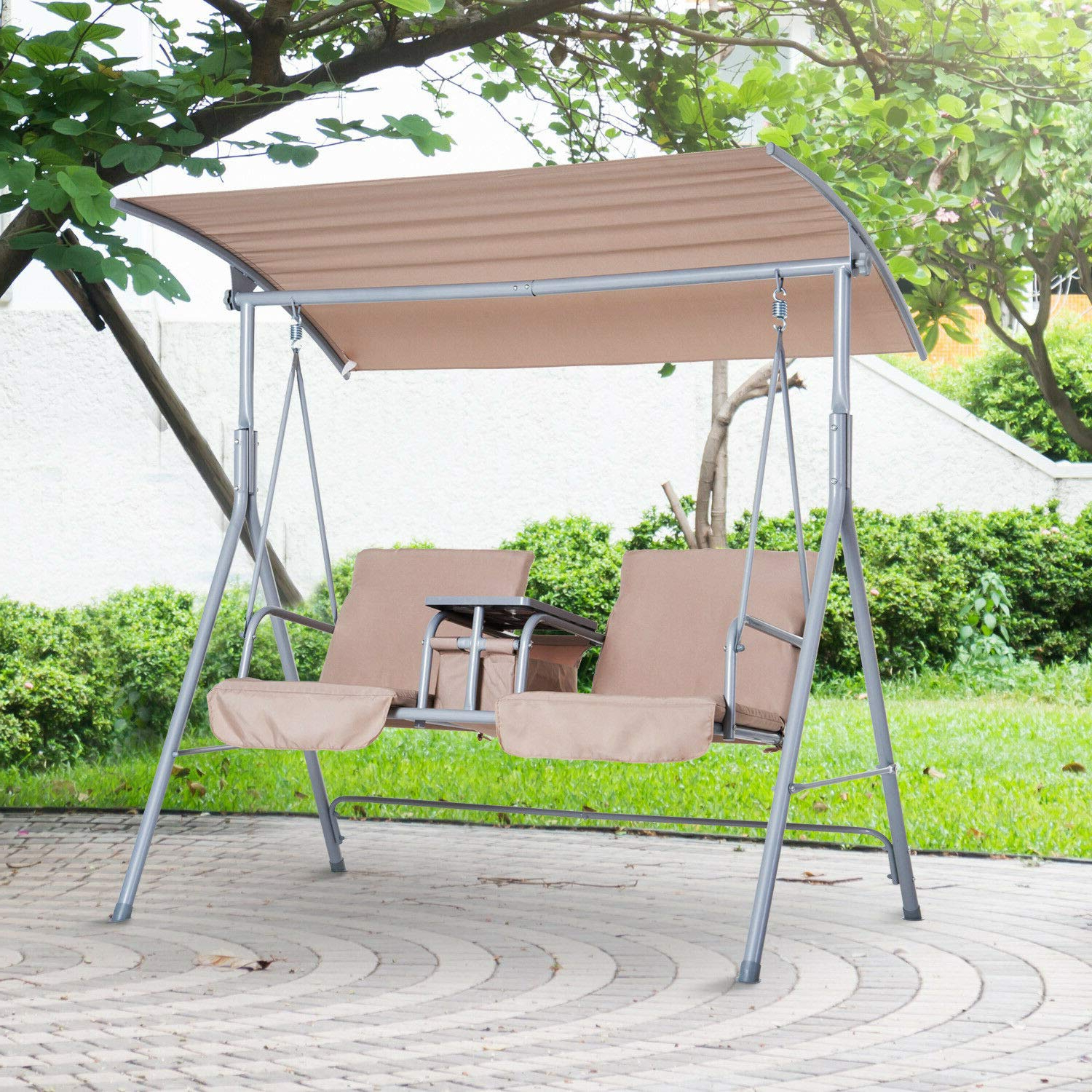 Featured Photo of Canopy Patio Porch Swing With Stand