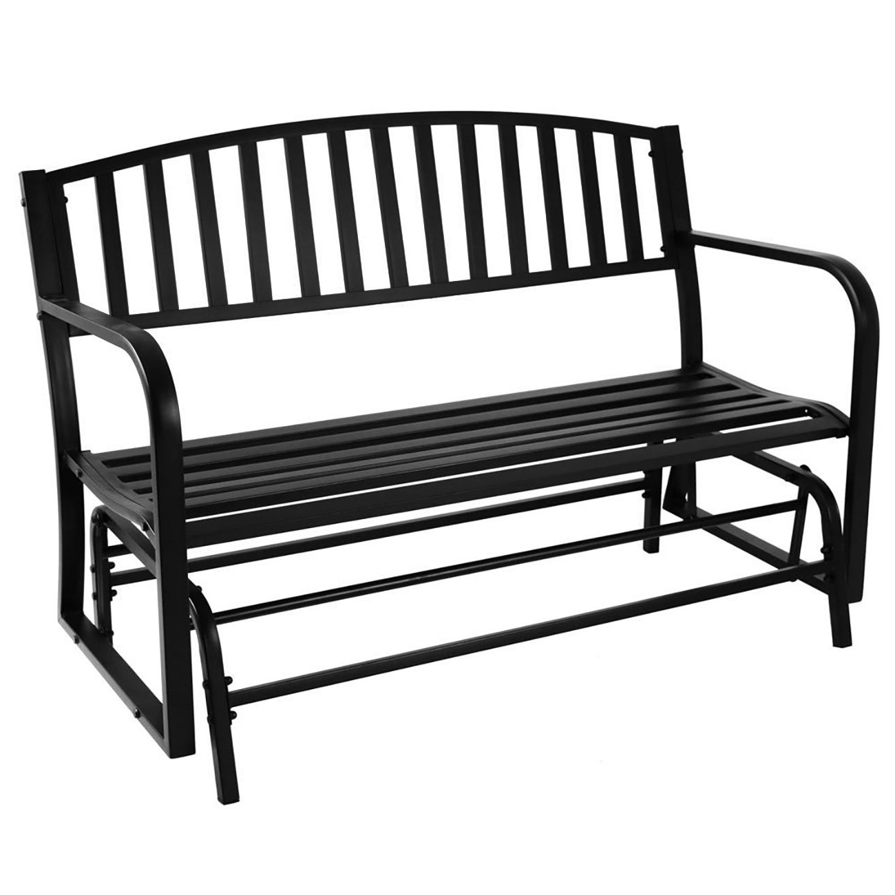 "Best And Newest Black Steel Patio Swing Glider Benches Powder Coated Inside Belleze 50"" Outdoor Garden Bench Glider Rocker Seat Swing, Black (View 3 of 30)"