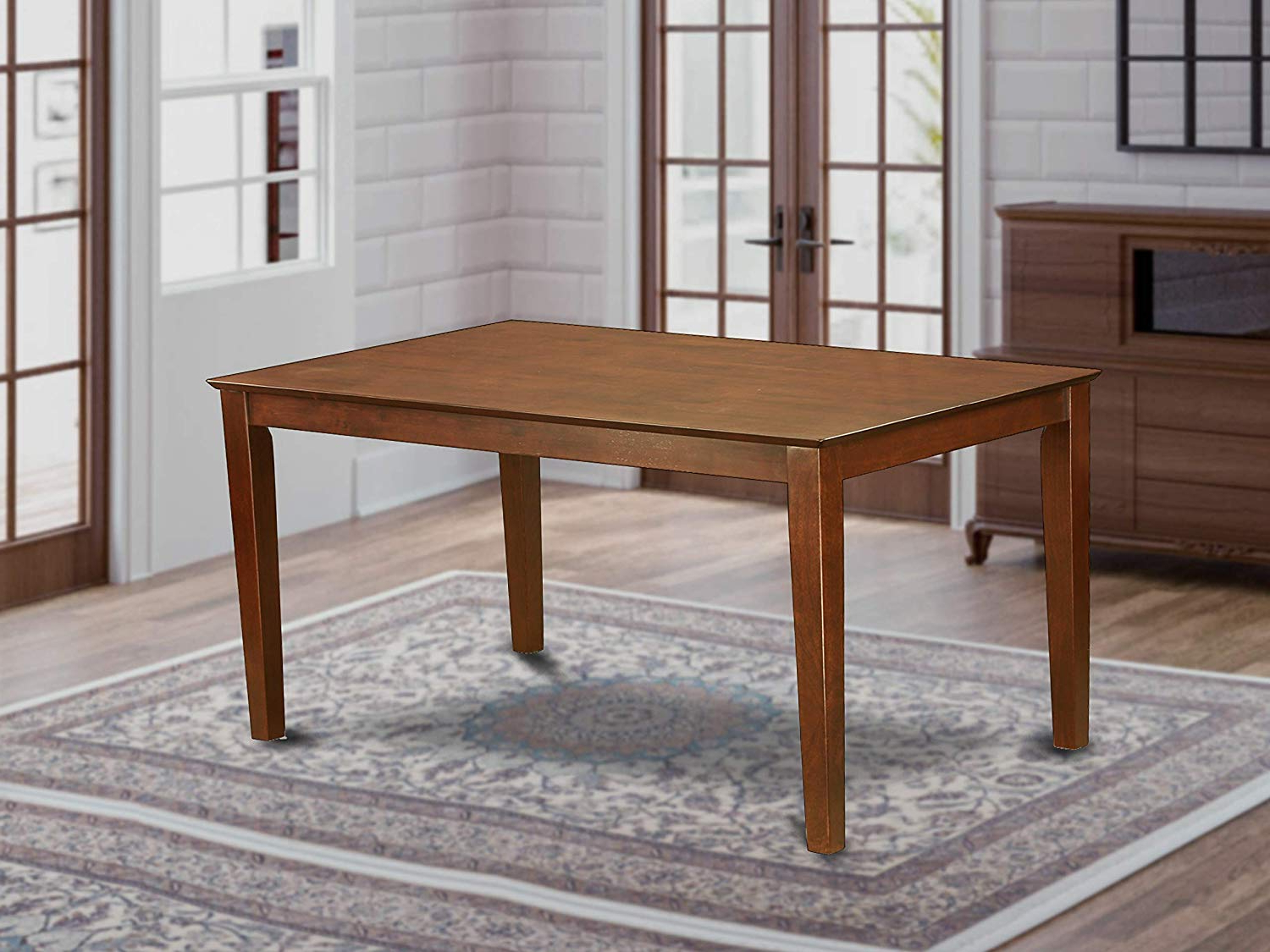 """Best And Newest Capri Rectangular Dining Table 36""""x60"""" With Solid Wood Top – Mahogany Finish Pertaining To Wood Top Dining Tables (View 6 of 30)"""