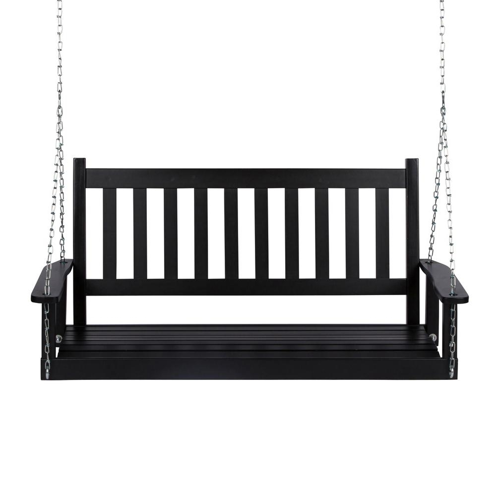 Best And Newest Contoured Classic Porch Swings Intended For Shine Company 25.5 In. Tall Maine Black Wood Patio Porch Swing (Gallery 25 of 30)