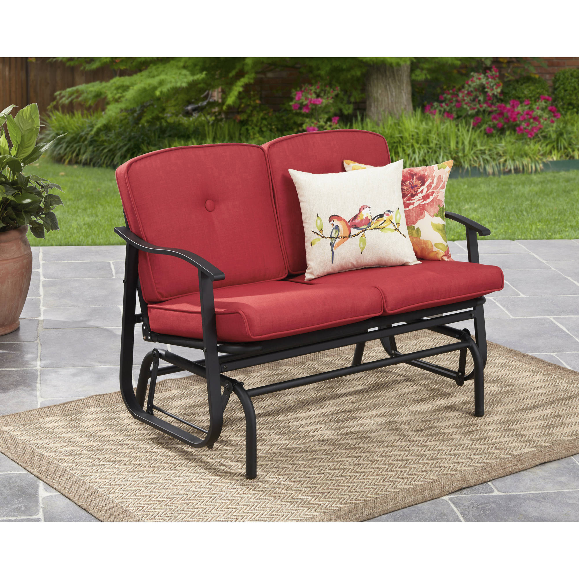 Best And Newest Cushioned Glider Benches With Cushions With Mainstays Belden Park Outdoor Loveseat Glider With Cushion – Walmart (Gallery 15 of 30)
