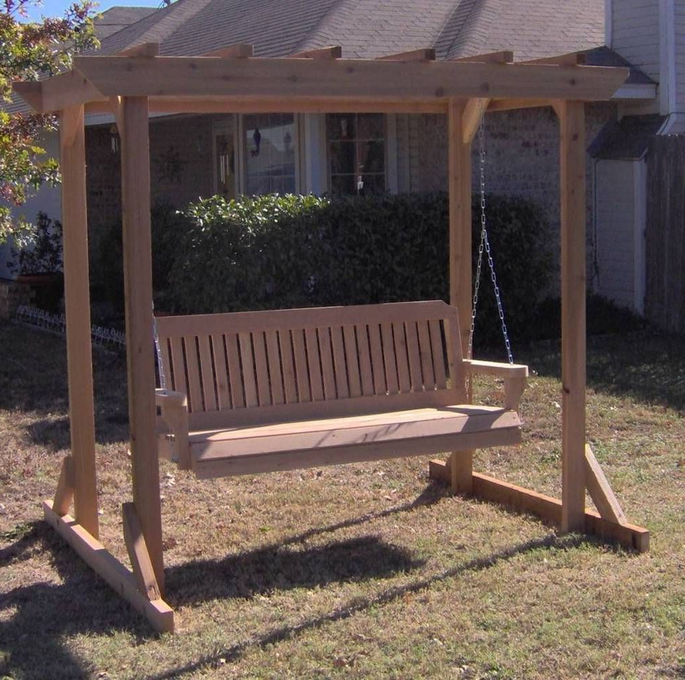 Best And Newest Details About New All Cedar Garden Arbor & 5 Foot Porch Pertaining To Pergola Porch Swings With Stand (View 9 of 30)