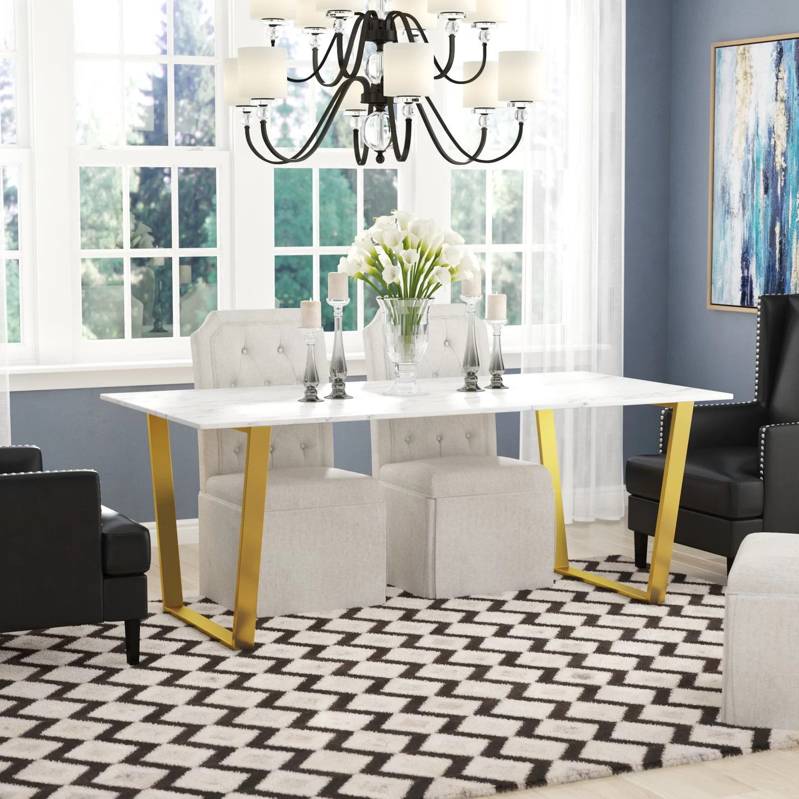 Best And Newest Dining Tables With White Marble Top Intended For Thompson Rectangular White Marble Top And Golden Steel Dining Table (View 7 of 30)