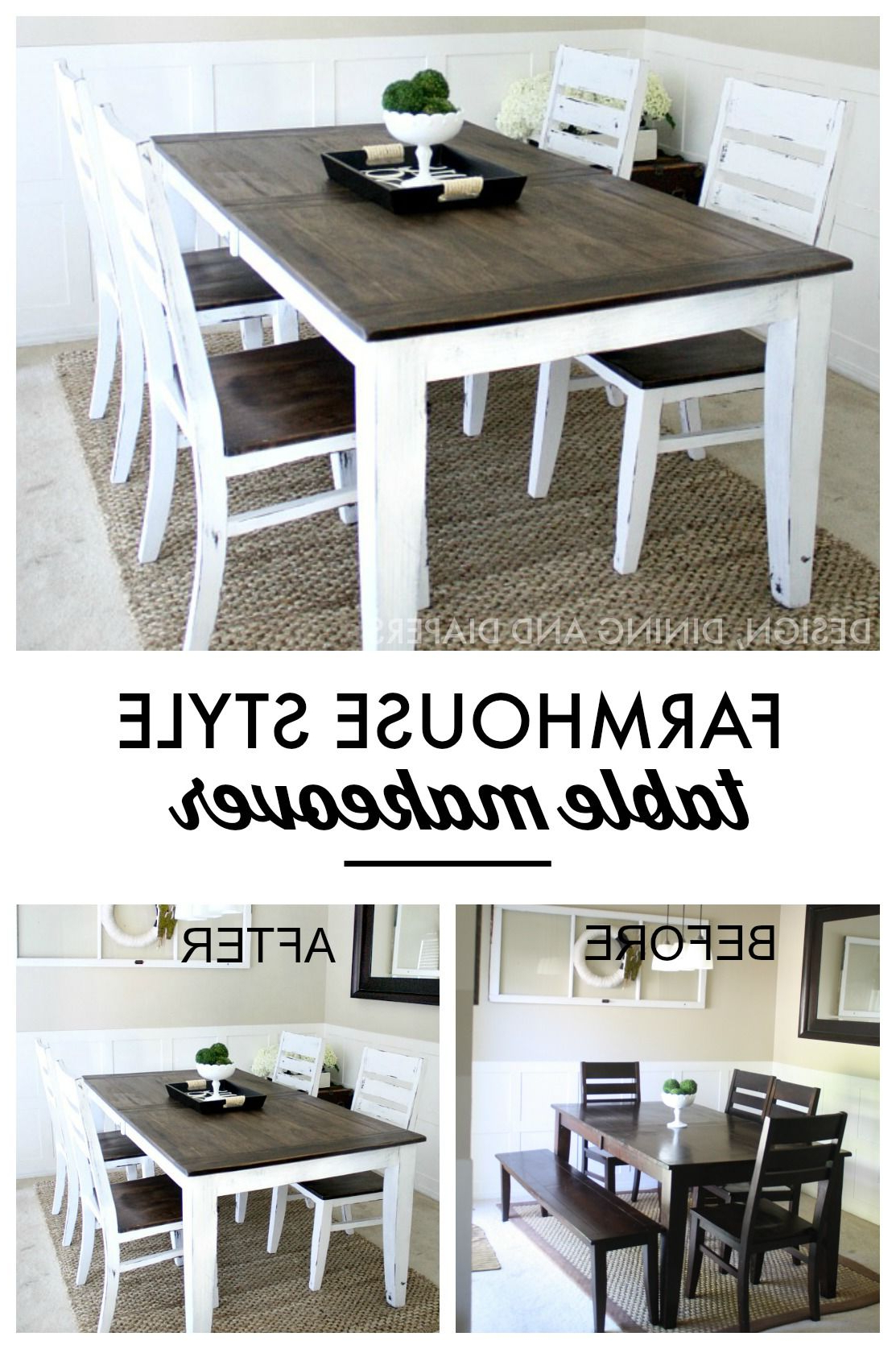 Best And Newest Distressed Walnut And Black Finish Wood Modern Country Dining Tables Inside Farmhouse Table Makeover (View 2 of 30)