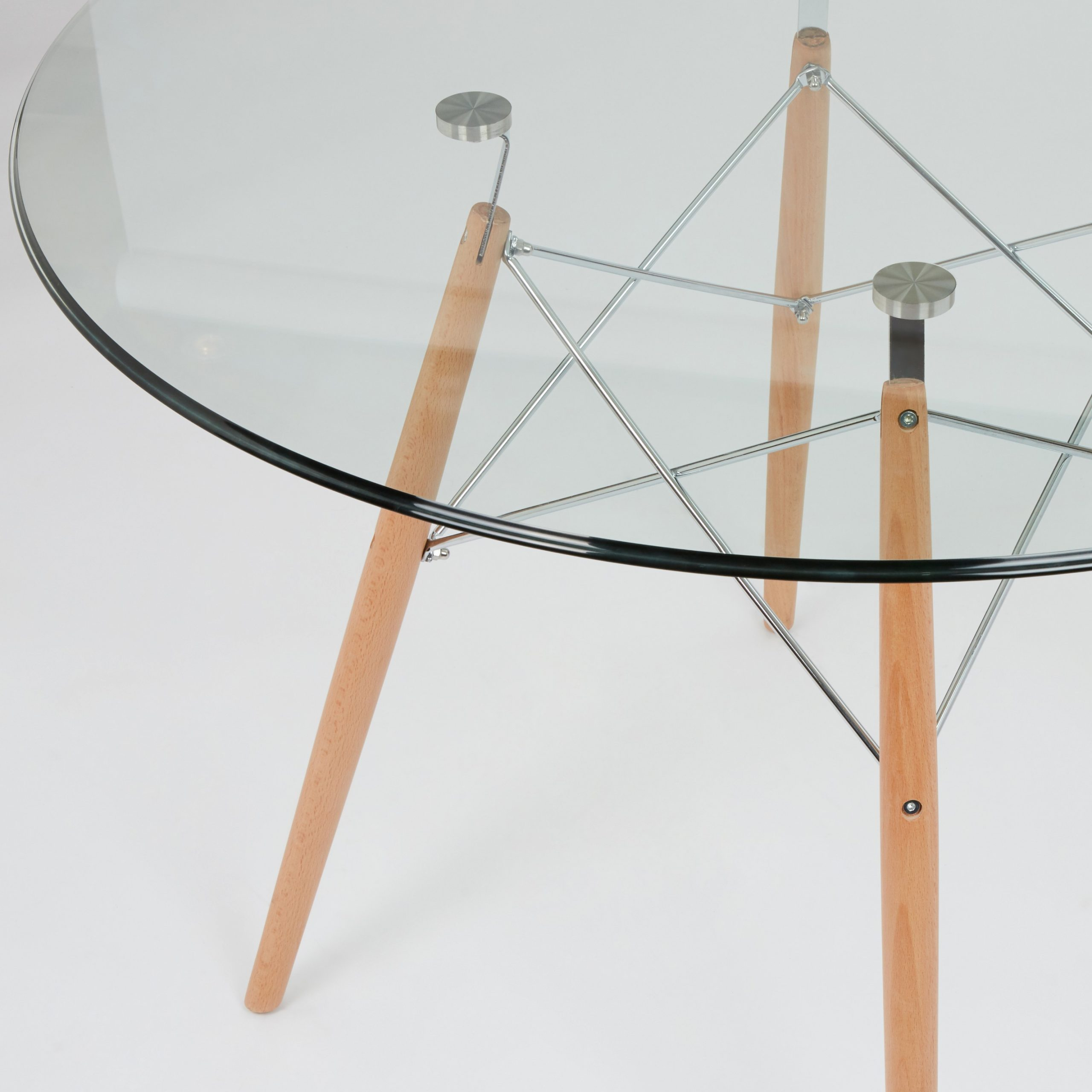 Best And Newest Eames Style Dining Tables With Chromed Leg And Tempered Glass Top Regarding Dining Glass Table With Beechwood Legs (Size: 100Cm (View 3 of 30)