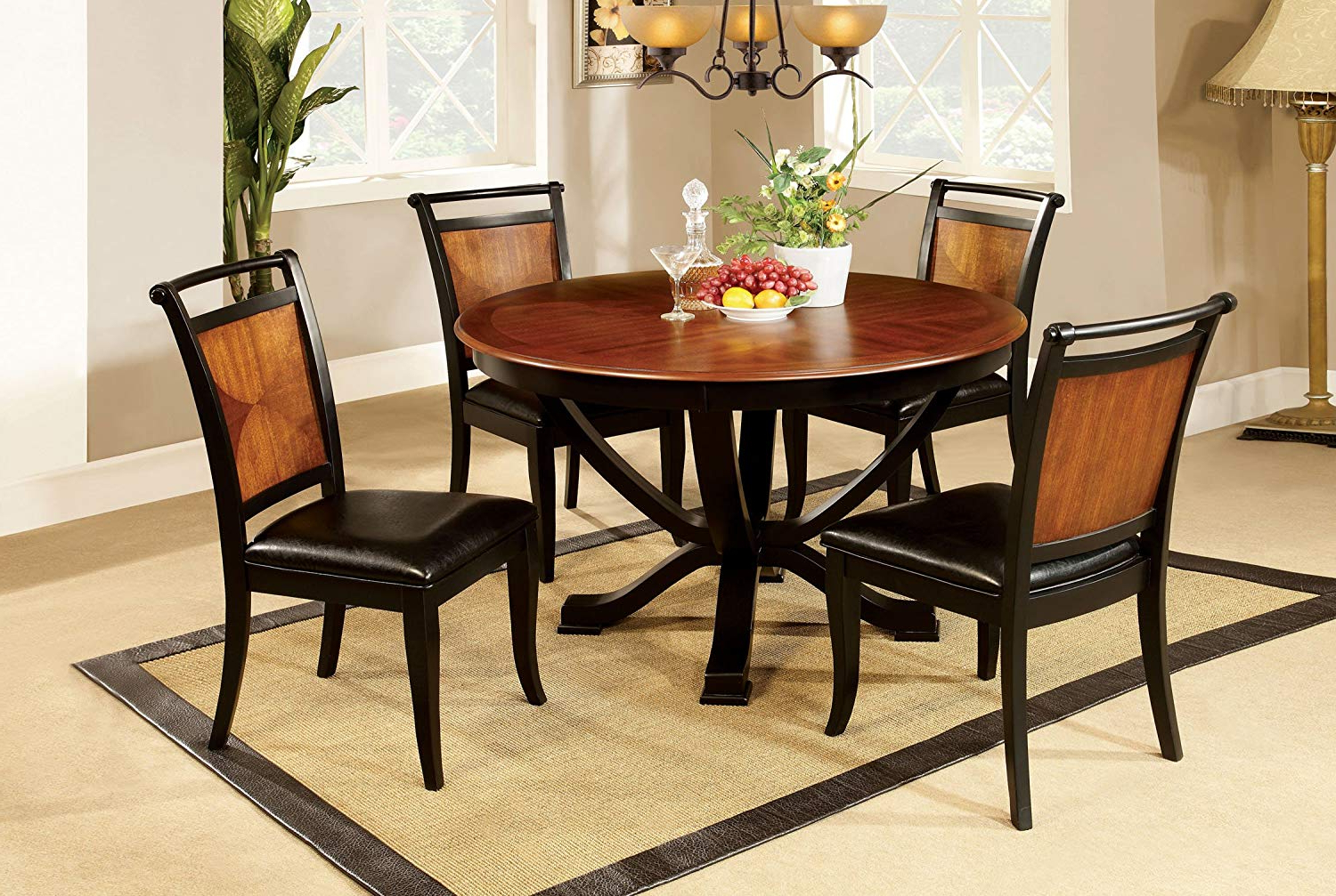 Best And Newest Furniture Of America Sahrifa Duotone Round Dining Table, Acacia And Black  Finish Pertaining To Acacia Dining Tables With Black X Leg (Gallery 23 of 30)