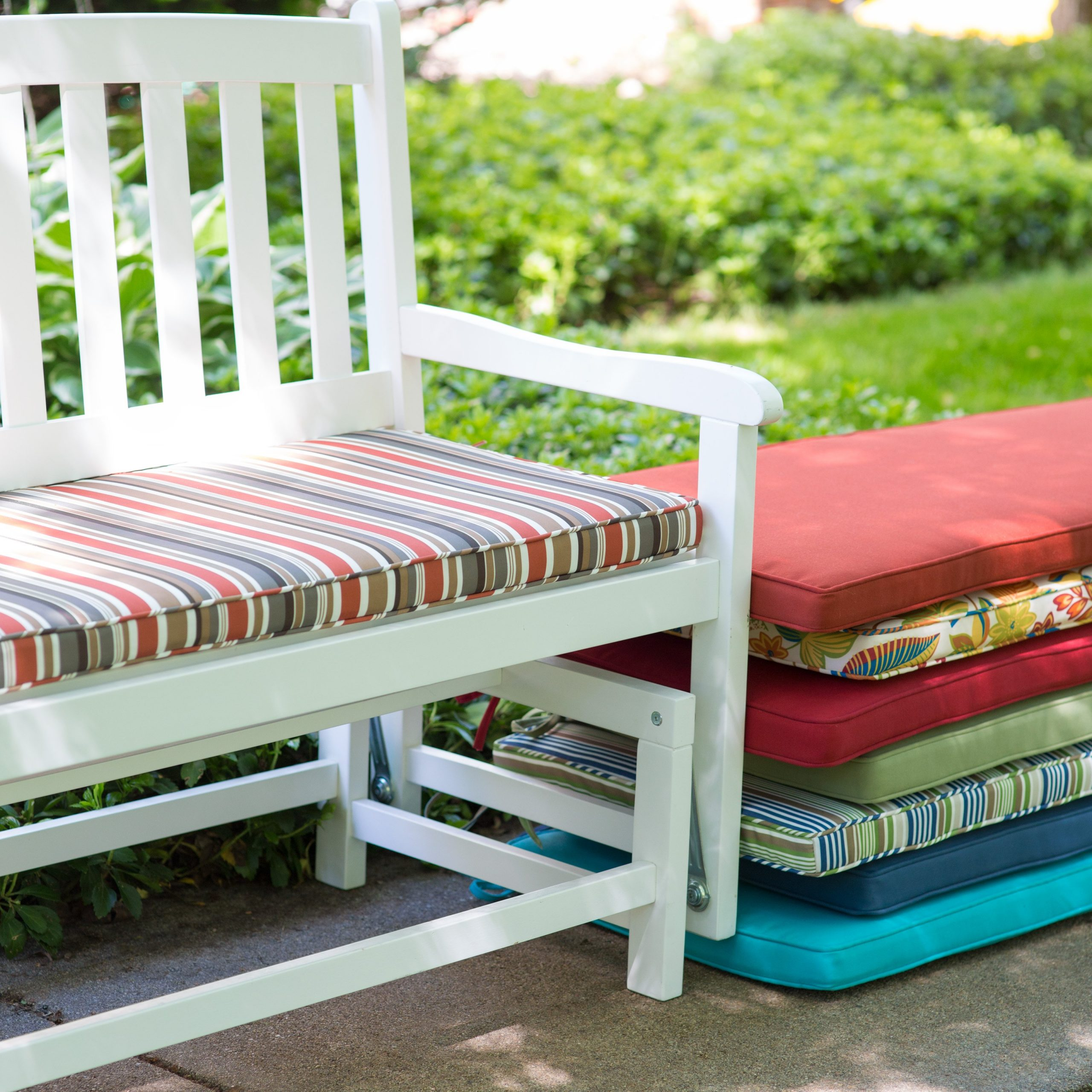 Best And Newest Glider Benches With Cushions With Decorating: Your Porch And Patio Never Been The Same With (Gallery 18 of 30)