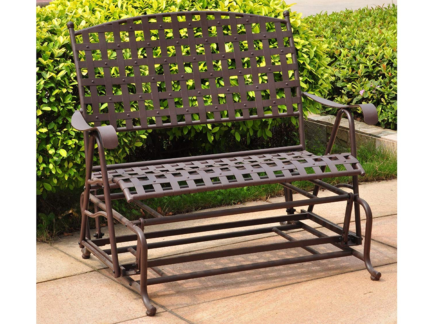 Best And Newest International Caravan, Santa Fe Iron Porch Double Glider Garden Bench Inside 2 Person Antique Black Iron Outdoor Gliders (View 2 of 30)