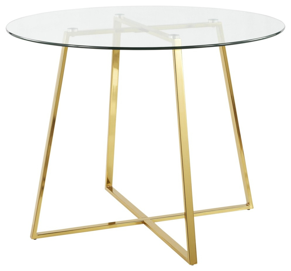 Best And Newest Modern Gold Dining Tables With Clear Glass Pertaining To Cosmo Contemporary/glam Dining Table, Gold Metal And Clear Tempered Glass (View 12 of 30)