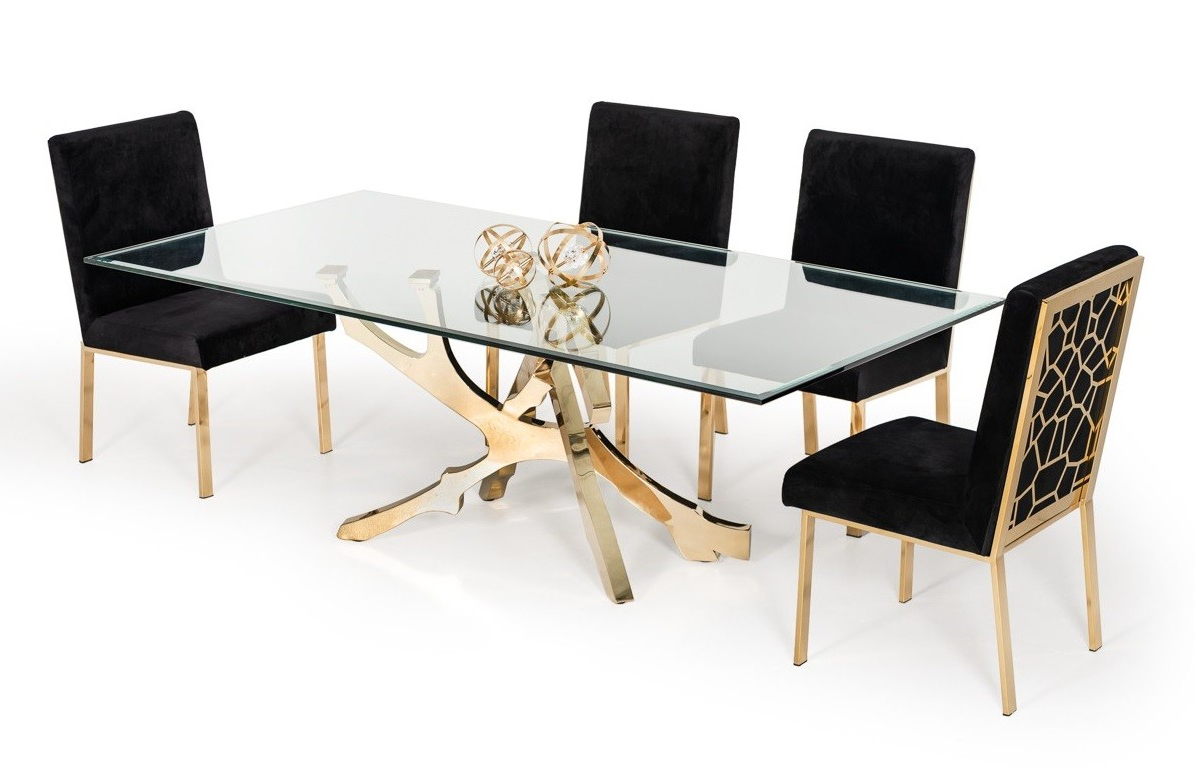 Best And Newest Modern Gold Dining Tables With Clear Glass Within Best Modern Contemporary Furniture Stores Orlando Miami (View 18 of 30)