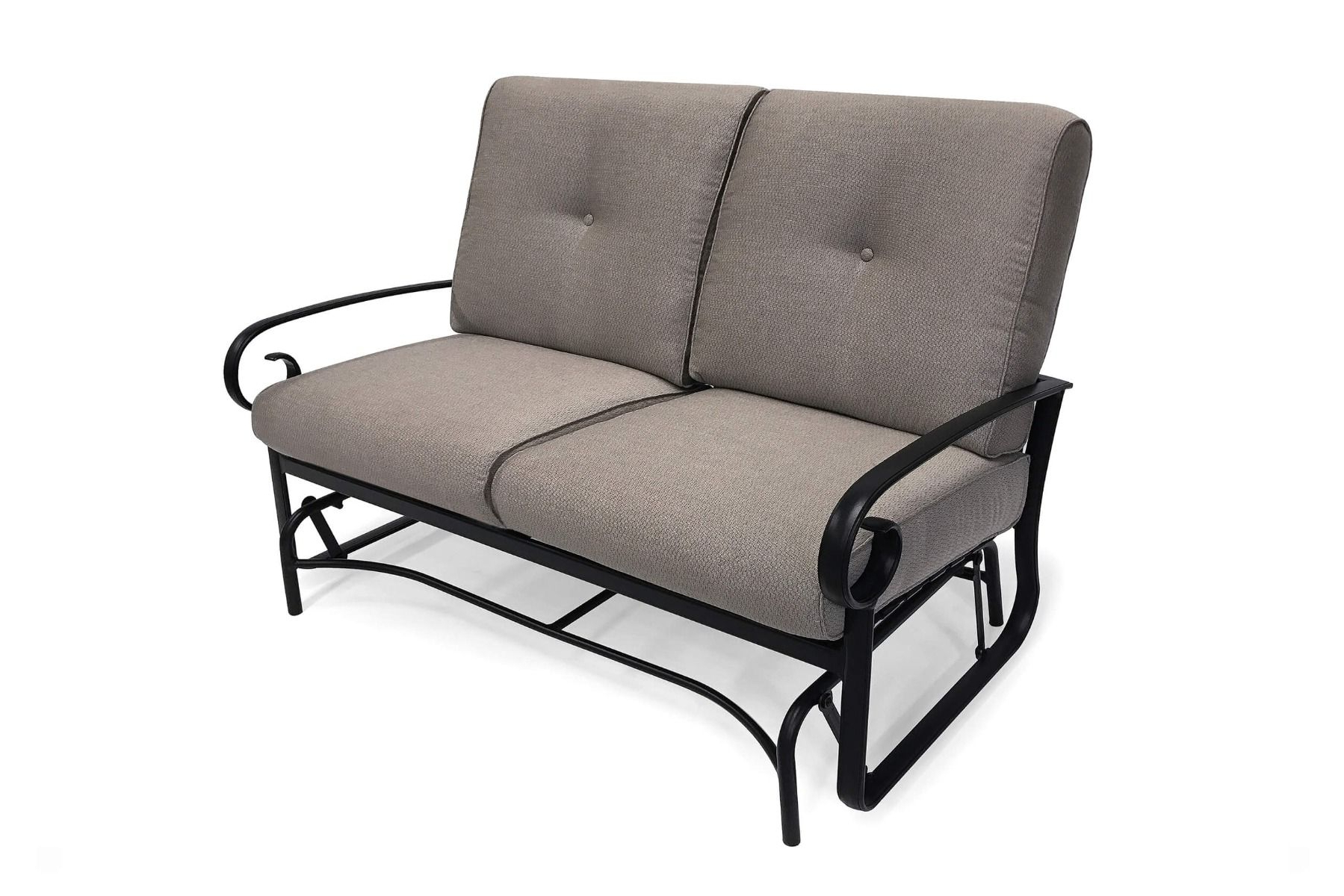Best And Newest Outdoor Loveseat Gliders With Cushion With Veneto Cushion Loveseat Glider (Gallery 14 of 30)