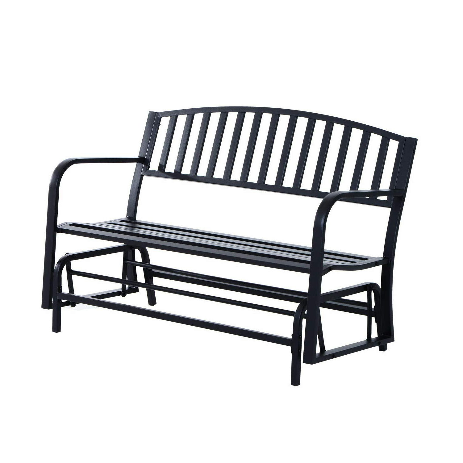 Best And Newest Outdoor Steel Patio Swing Glider Benches For Amazon : Black Patio Swing Glider Bench For 2 Persons (Gallery 6 of 30)