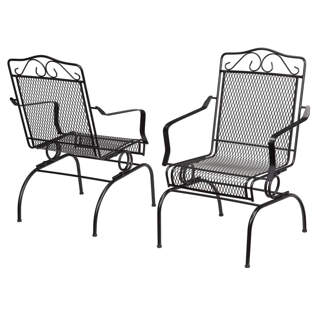 Best And Newest Outdoor Swing Glider Chairs With Powder Coated Steel Frame Inside Details About Rocking Metal Outdoor Dining Chair Steel Frame Durable  Weather Resistant Black (Gallery 12 of 30)