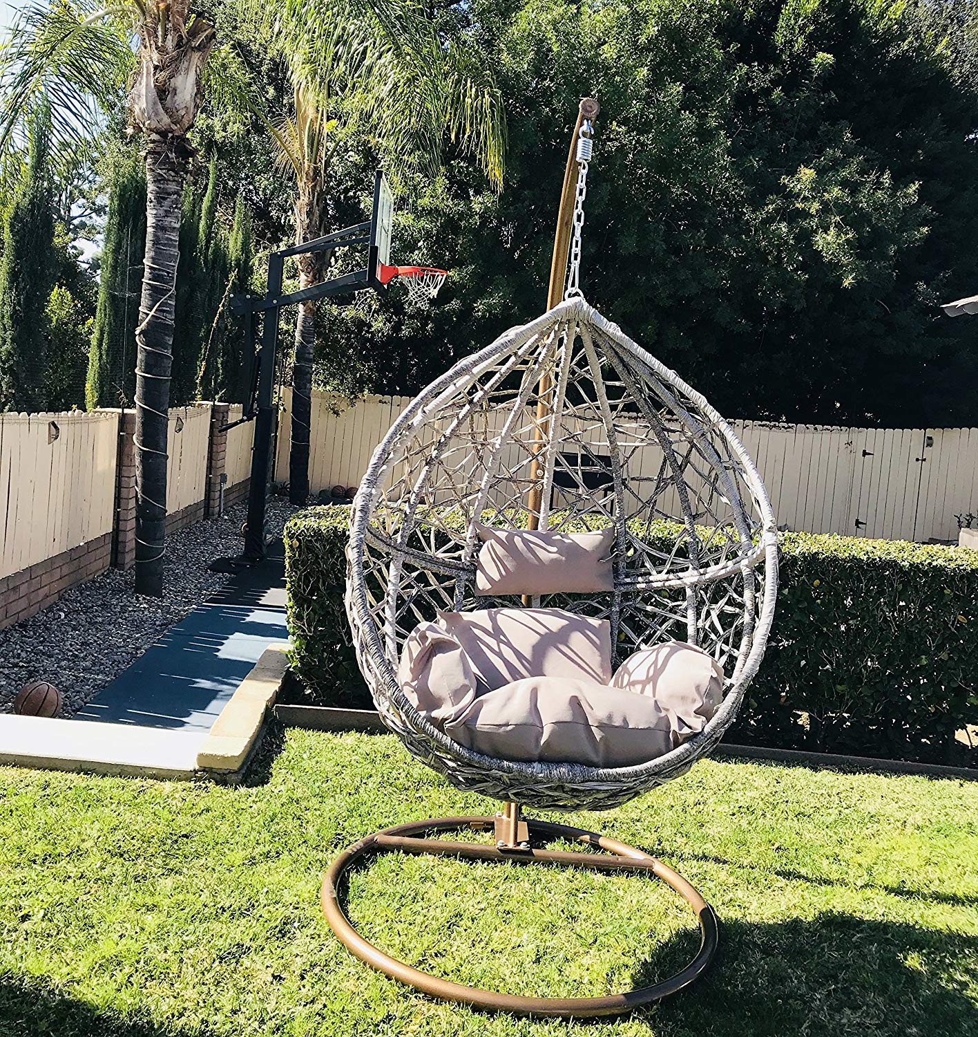 Best And Newest Outdoor Wicker Plastic Tear Porch Swings With Stand For Amazon : Hanging Egg Chair Tear Drop Resin Wicker With (View 6 of 30)
