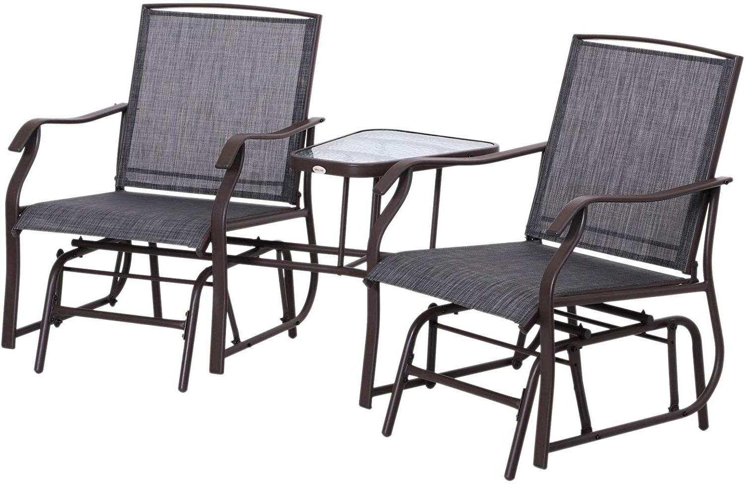 Best And Newest Outsunny Durable Double Glider Chair W/center Table Outdoor Comfortable  High Back Armchair Set Sling Fabric Garden Bench W/glass Top Table Grey With Center Table Double Glider Benches (Gallery 9 of 30)