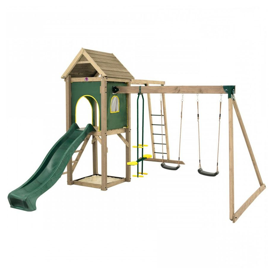 Best And Newest Plum® Kudu Wooden Climbing Frame Outdoor Play Centre With Double Swing,  Slide, Sand Pit & Monkey Bars Pertaining To Dual Rider Glider Swings With Soft Touch Rope (Gallery 23 of 30)