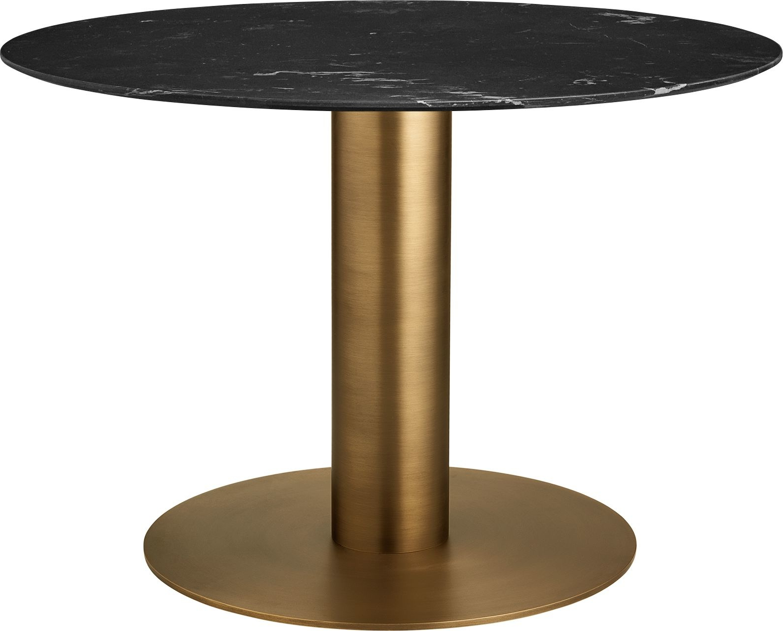 Best And Newest Round 2.0 Dining Table, Antique Brass Base For Dining Tables With Stained Ash Walnut (Gallery 22 of 30)