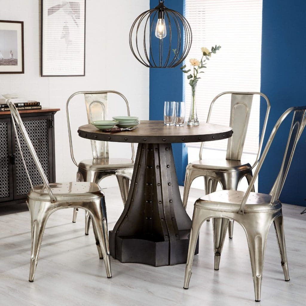 Best And Newest Telford Industrial Round Dining Table Pertaining To Wood Top Dining Tables (Gallery 22 of 30)