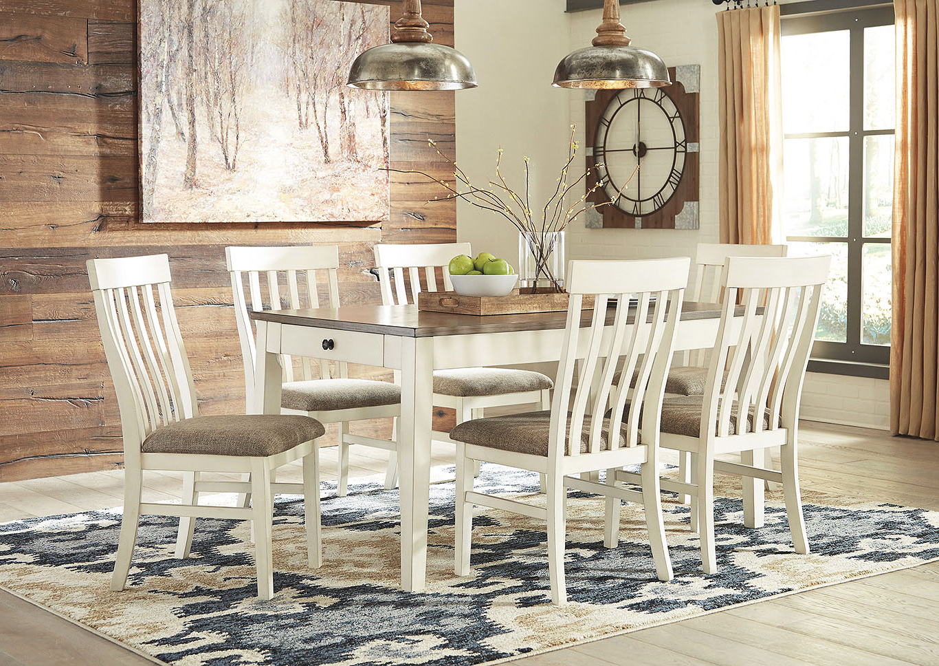 Best And Newest Wine Country Furniture Bardilyn Dining Table W/6 Side Chairs Pertaining To Coaster Contemporary 6 Seating Rectangular Casual Dining Tables (View 3 of 30)