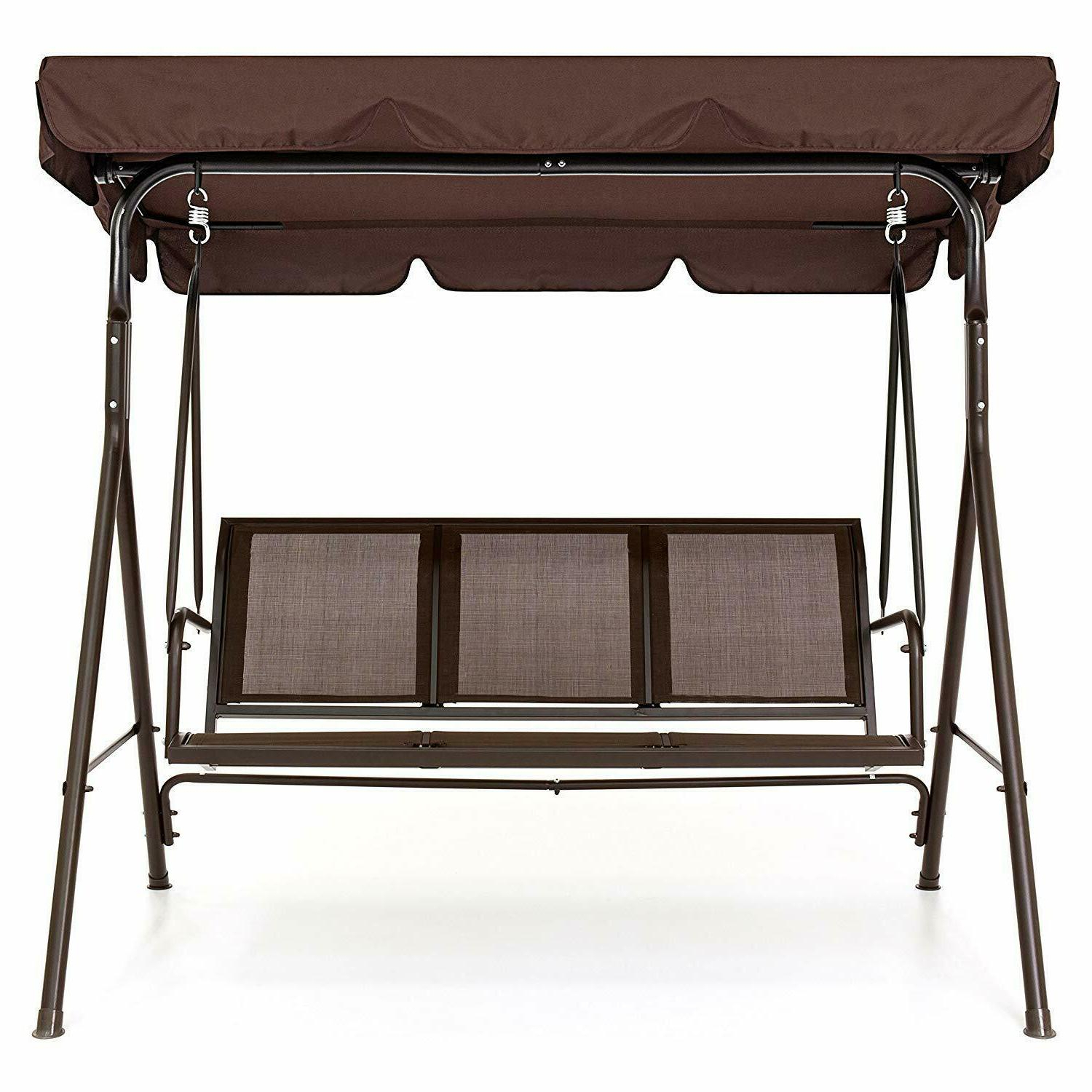 Best Choice Products 2 Person Outdoor Convertible Canopy Porch Swing – Brown Inside Recent Porch Swings With Canopy (Gallery 16 of 30)