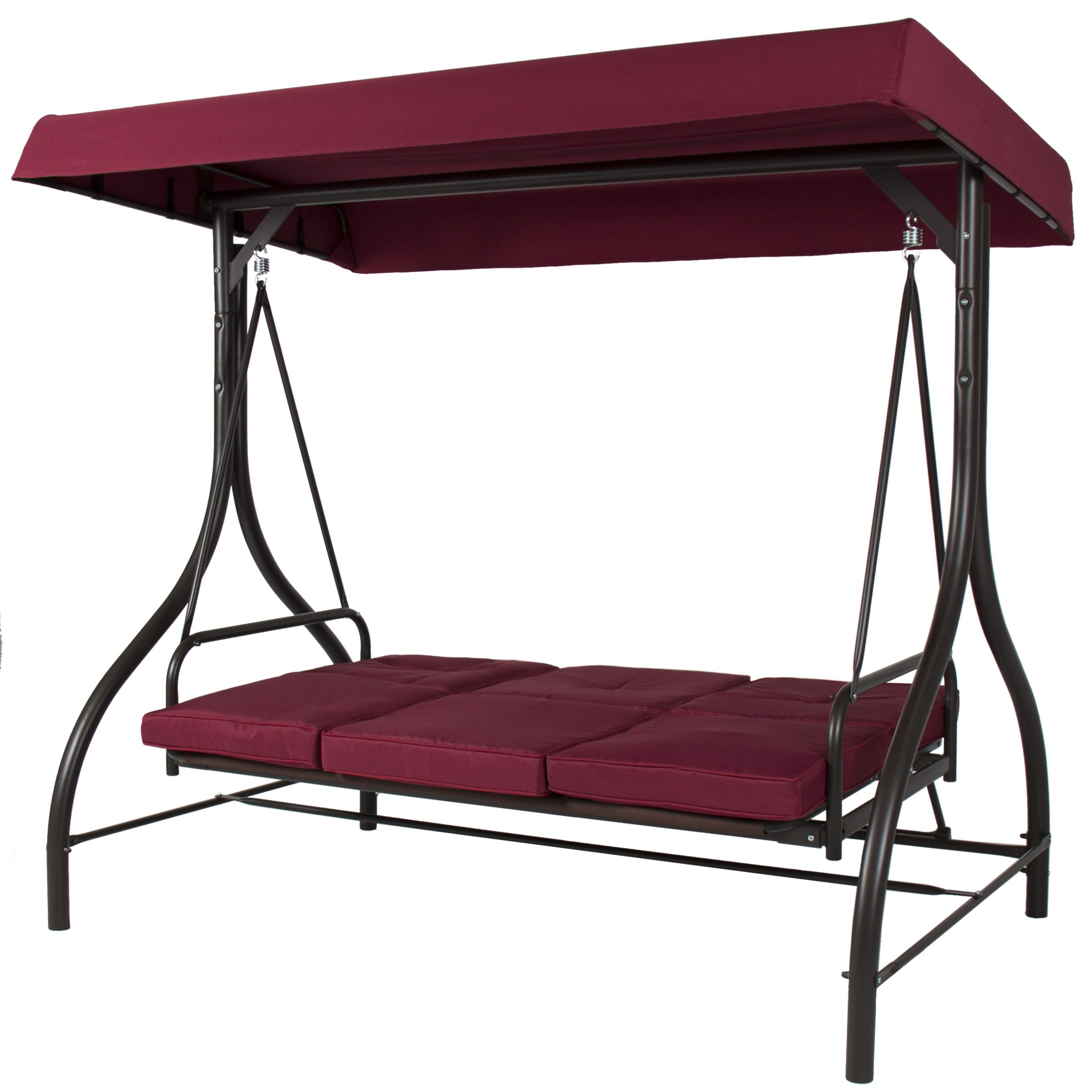 Best Choice Products 3 Seat Patio Porch Swing – Walmart For Trendy Canopy Porch Swings (Gallery 8 of 30)